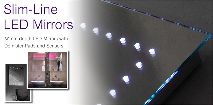 Slim-line LED mirrors