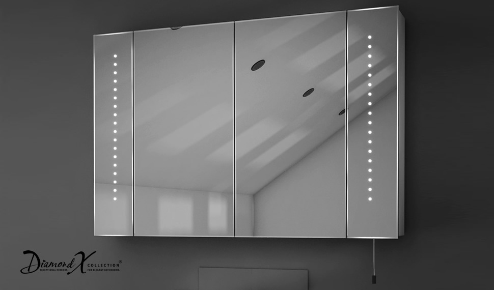 Hatha led illuminated battery bathroom mirror cabinet with for Bathroom cabinets led