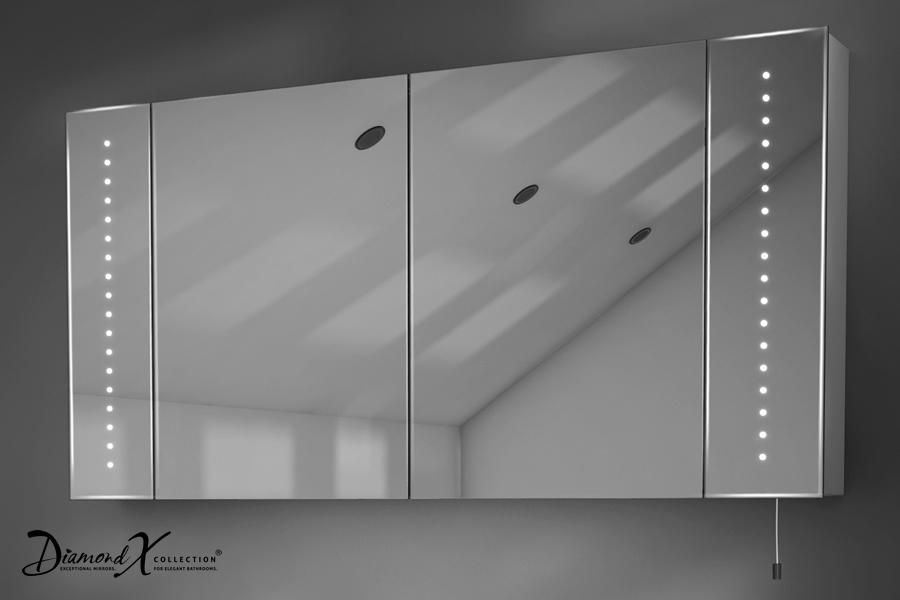 Illuminated Mirror Glass Cabinet: Karma LED Illuminated Battery Bathroom Mirror Cabinet With