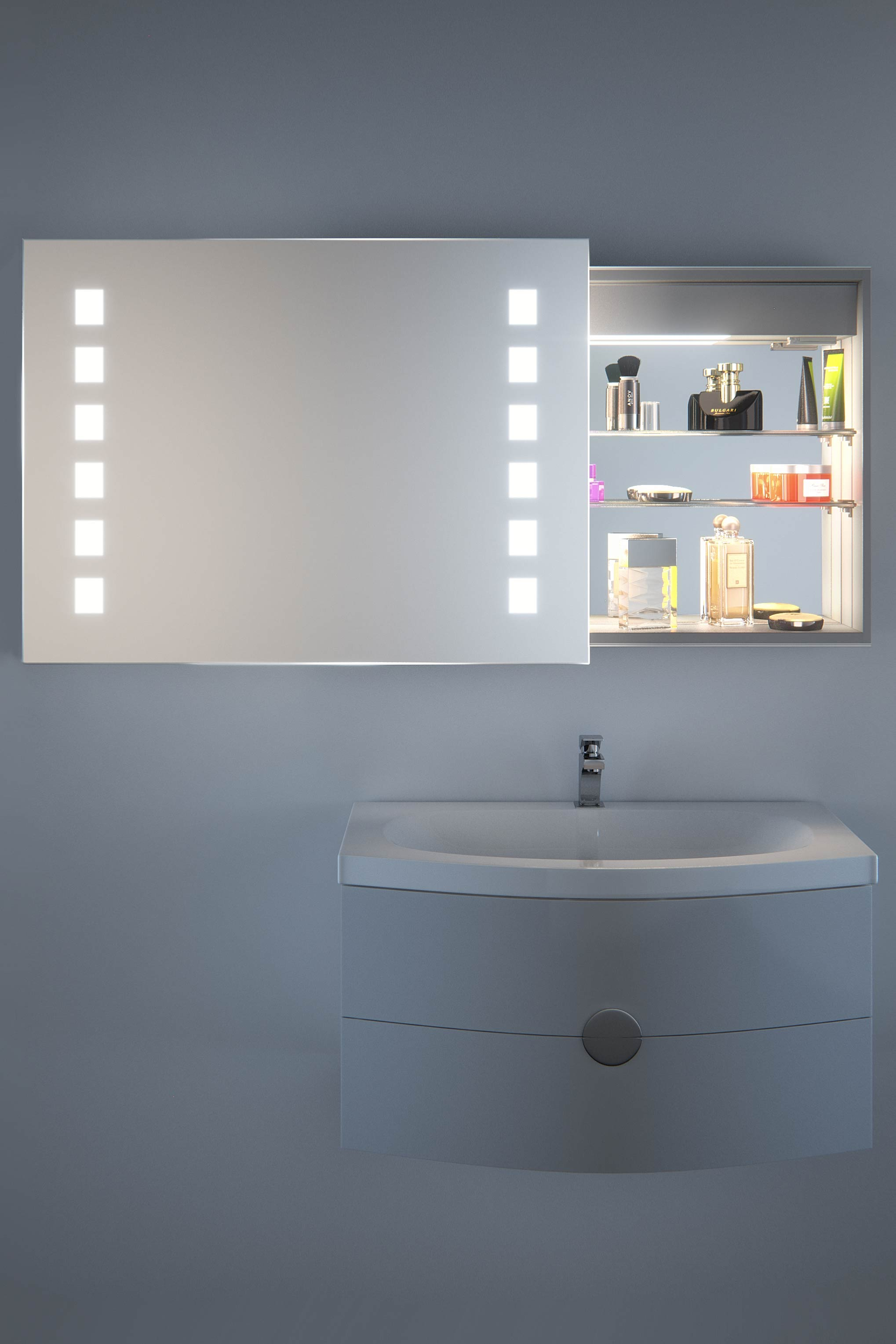 jaimi sliding mirror door bathroom cabinet with demister