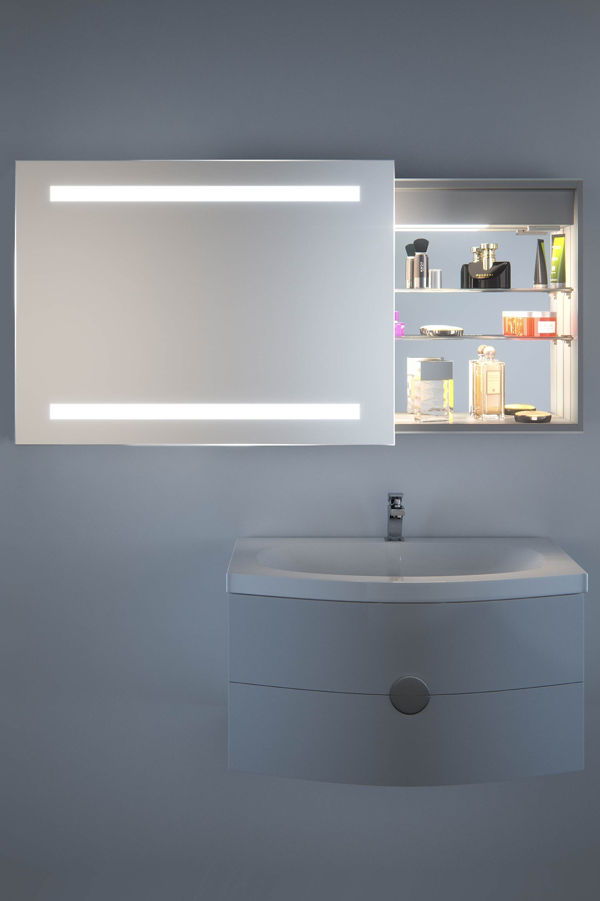 rae sliding mirror door bathroom cabinet with demister