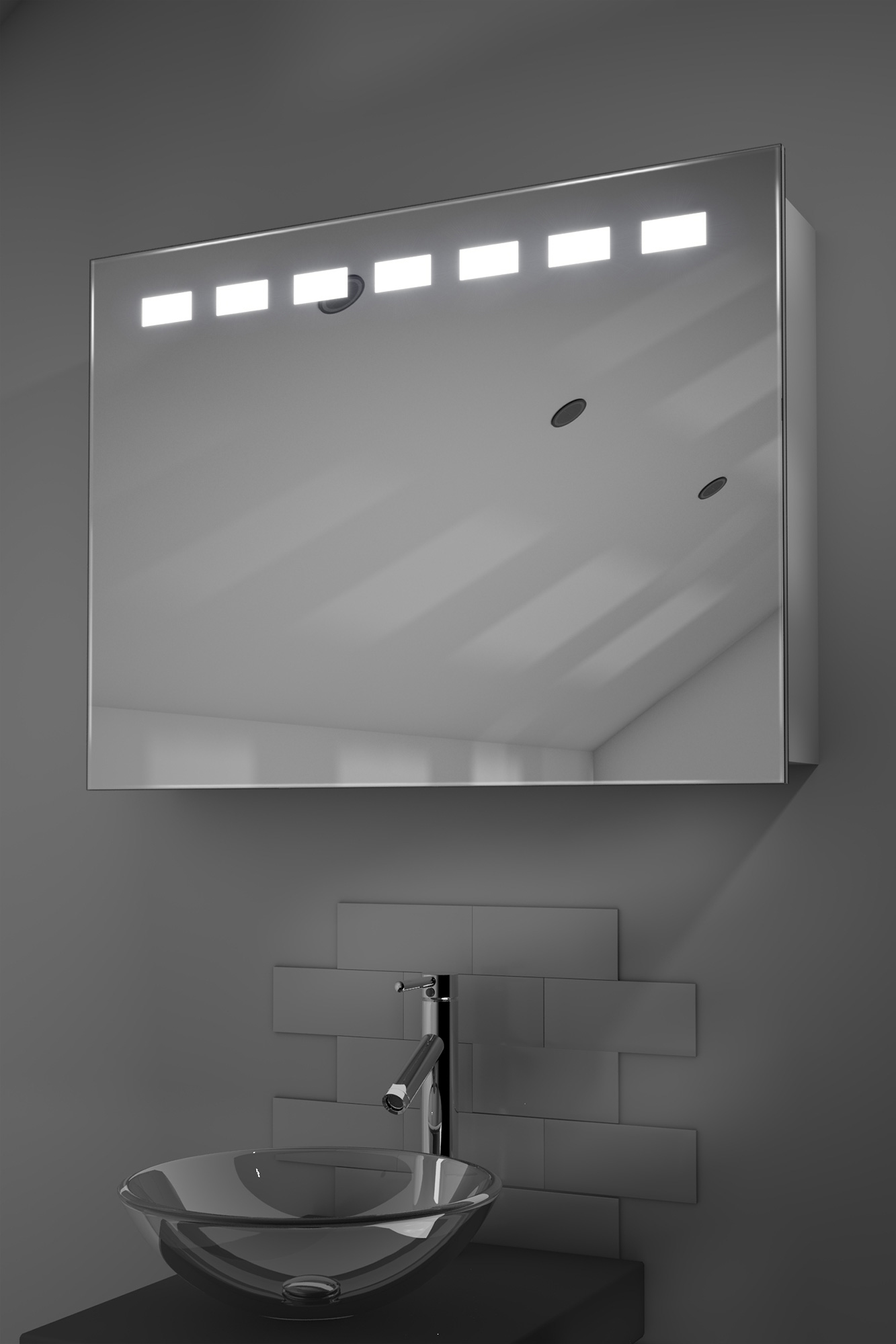 ness sliding mirror door bathroom cabinet with demister