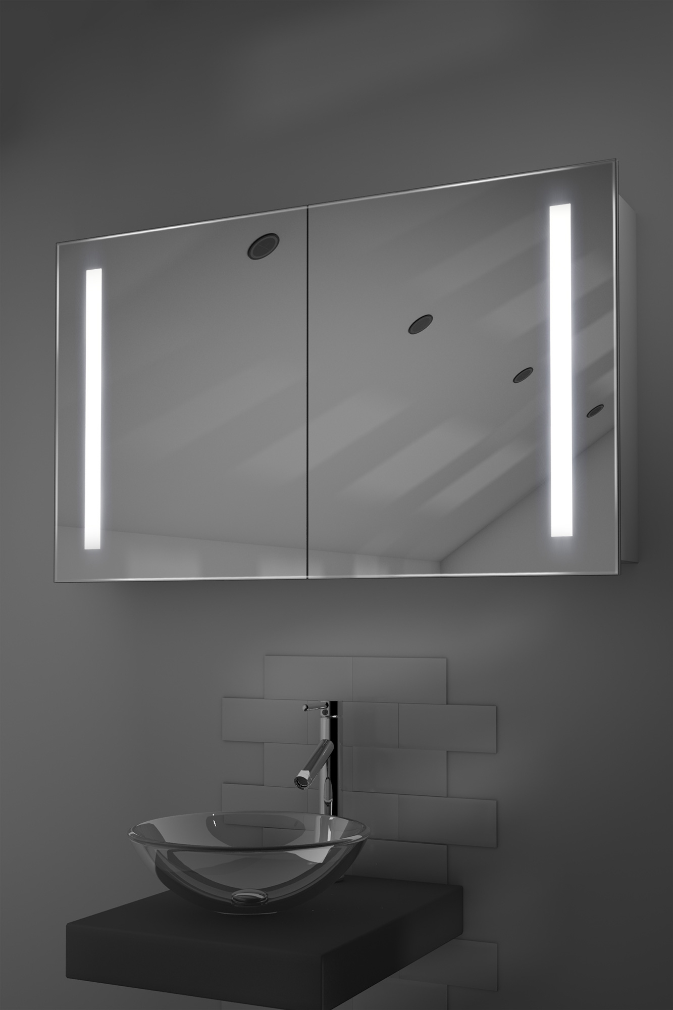 vida sliding mirror door bathroom cabinet with demister