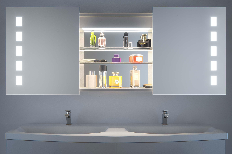 wallis sliding mirror door bathroom cabinet with demister sensor