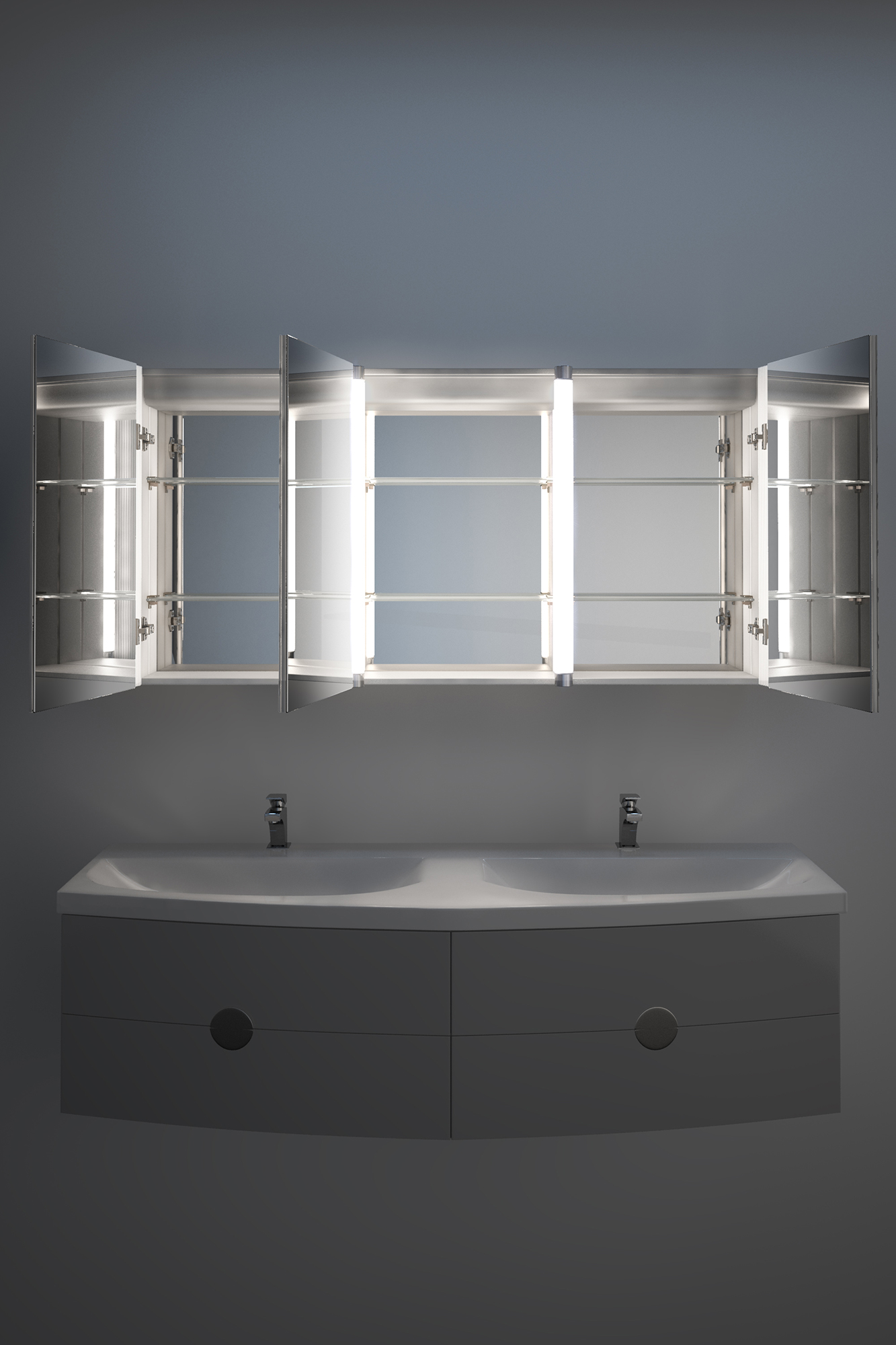 Bluetooth Audio Bathroom Cabinet With Demister, Shaver