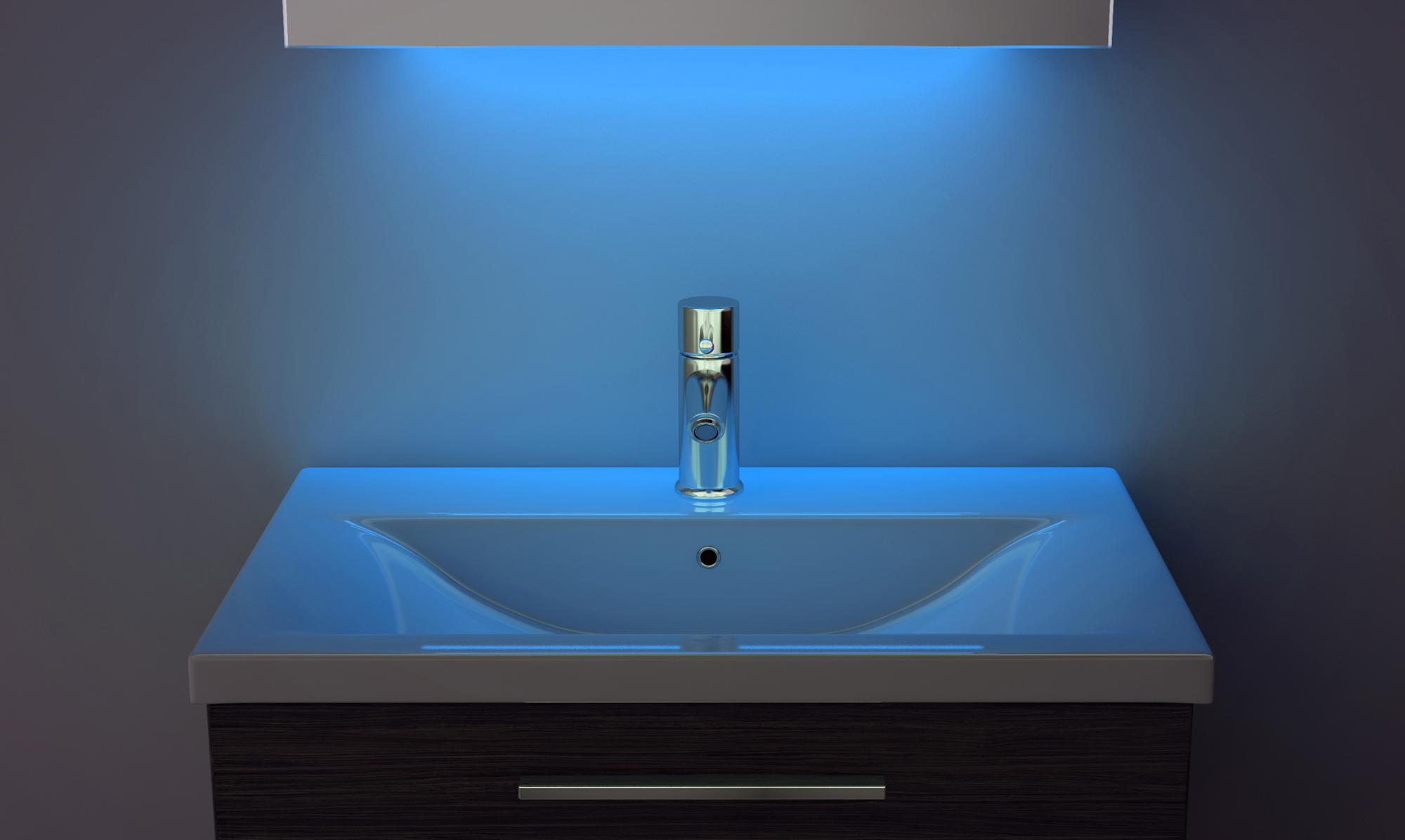 Ambient bathroom mirror cabinet with sensor amp shaver
