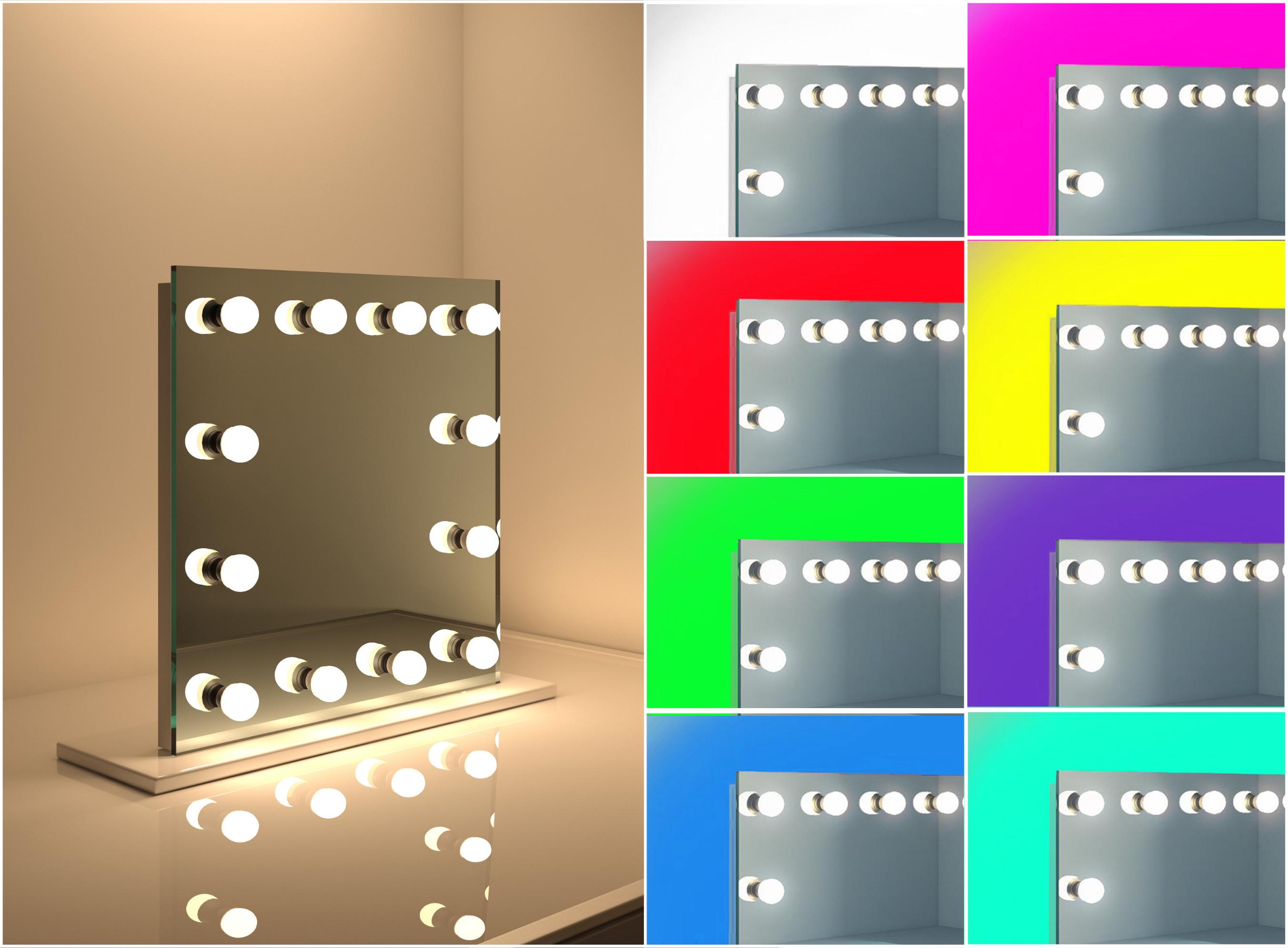 Modern K9 Crystal Led Bathroom Make Up Mirror Light Cool: RGB Hollywood Makeup Mirror Table Top