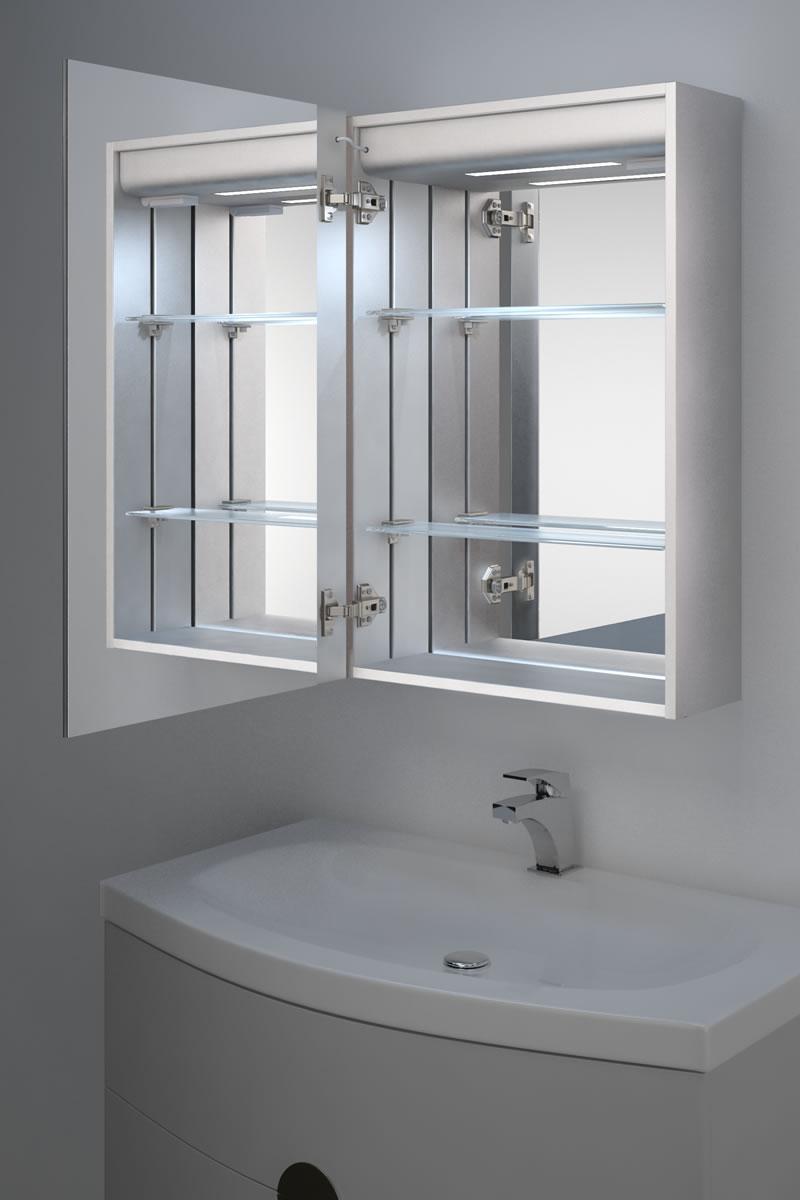 armoire de toilette anti bu e avec capteur et prise rasoir int rieure k347b ebay. Black Bedroom Furniture Sets. Home Design Ideas