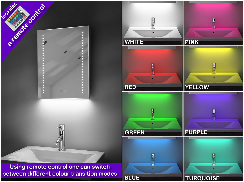 Miroir salle de bain horloge num lumineux rvb anti bu e - Miroir salle de bain lumineux anti buee ...