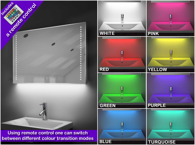 Digital Clock Shaver Bathroom Mirror With Rgb Lighting Demist Sensor K195rgb