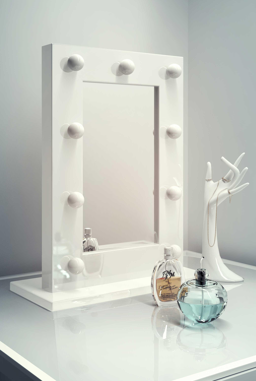Diamond X Gloss White Hollywood Makeup Mirror Warm White Dimmable LED k217WW. Diamond X Gloss White Hollywood Makeup Mirror Warm White Dimmable