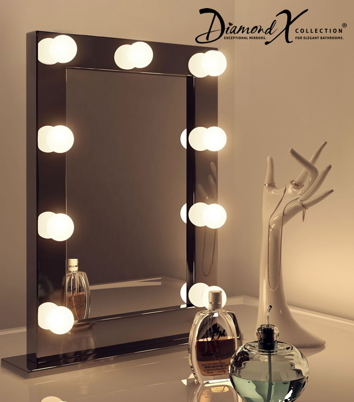 High Gloss Black Hollywood Makeup Theatre Dressing Room