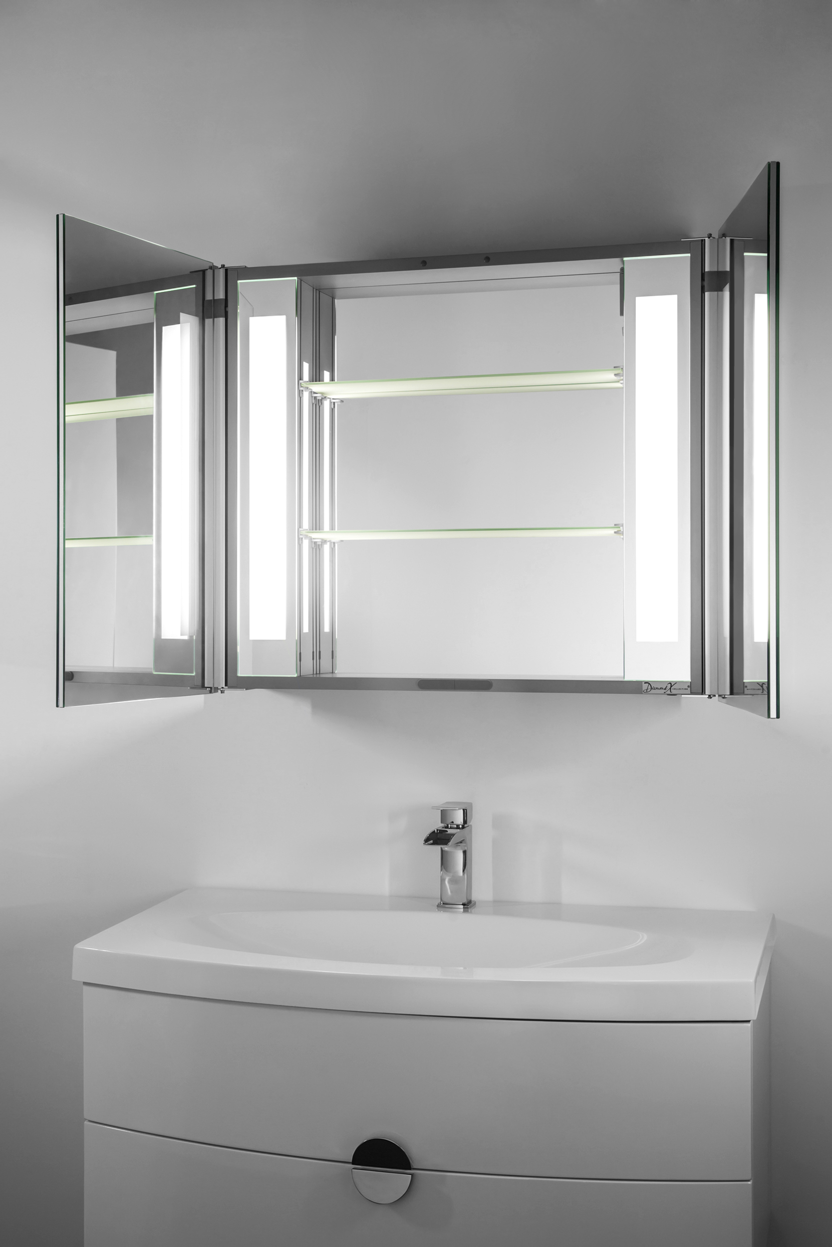 duo led illuminated bathroom mirror cabinet with sensor shaver k131