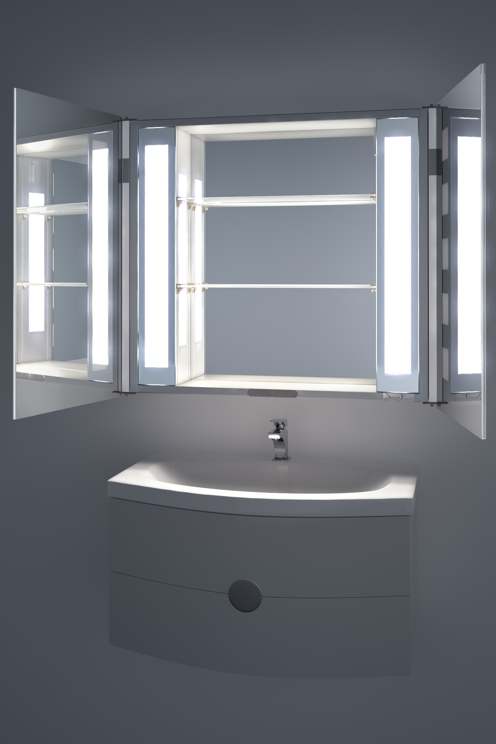Bathroom Cabinets With Shaver Socket ambient demist bathroom cabinet with sensor & internal shaver