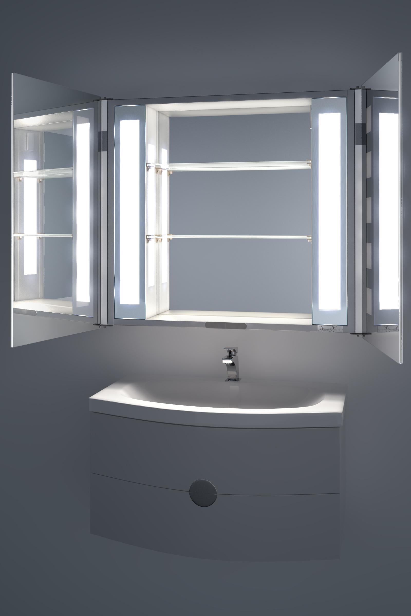 Cheap Illuminated Bathroom Mirrors: Excel LED Illuminated Bathroom Mirror Cabinet With Sensor