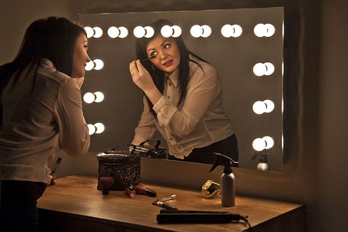 Modern K9 Crystal Led Bathroom Make Up Mirror Light Cool: Hollywood Make Up Theatre Dressing Room LED Mirror K95CW