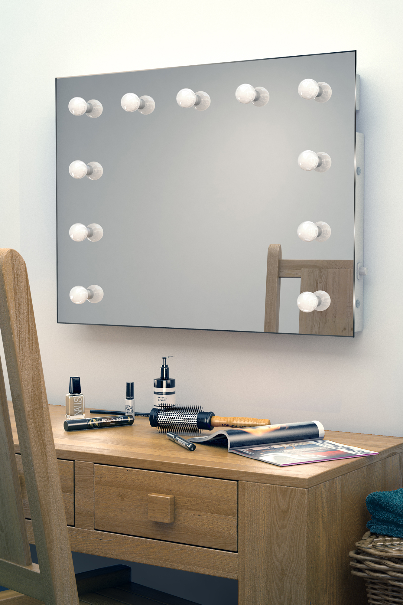 miroir de maquillage hollywood vestiaire avec lampes led graduables k95led ebay. Black Bedroom Furniture Sets. Home Design Ideas