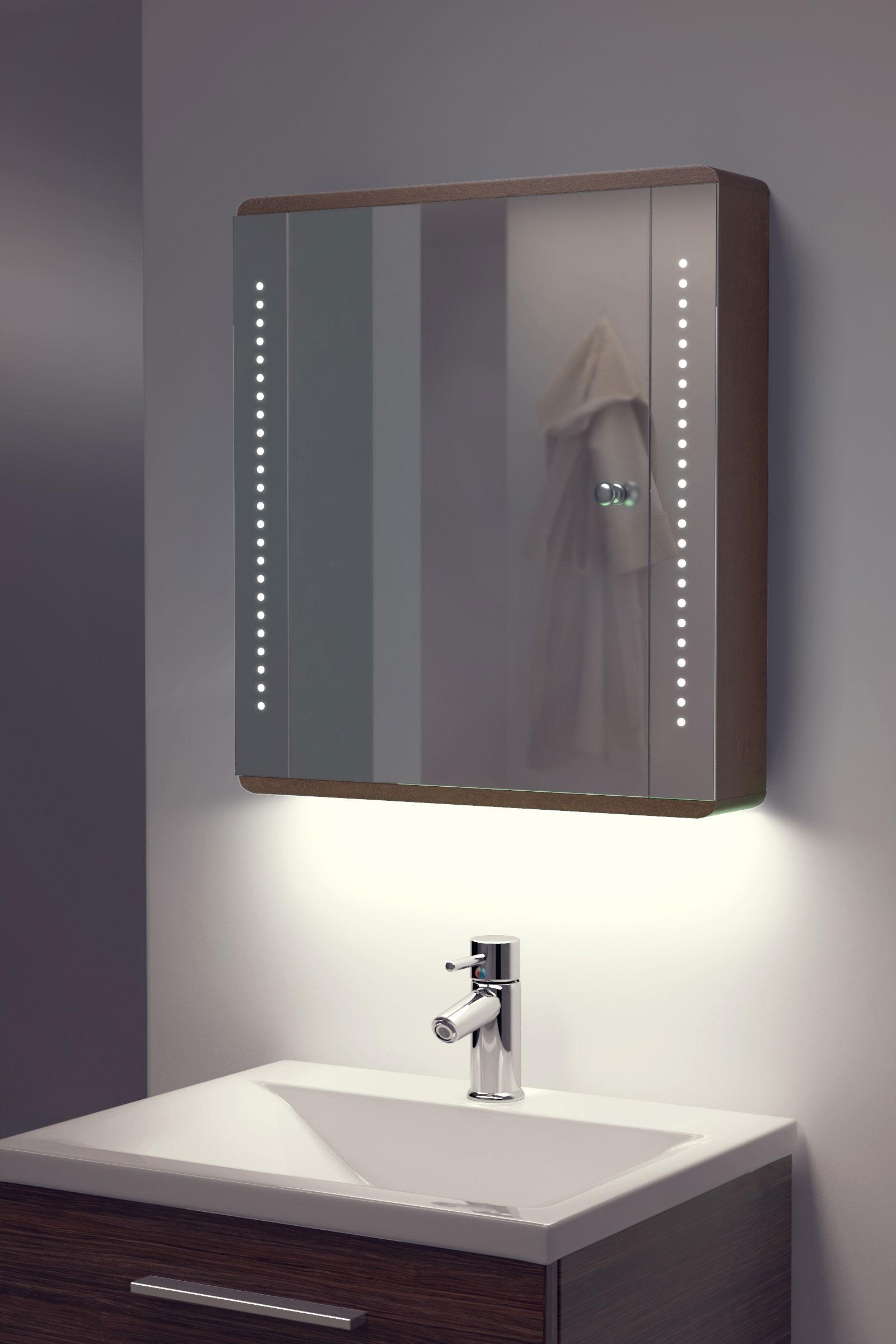 ambient solid oak bathroom cabinet with demister sensor