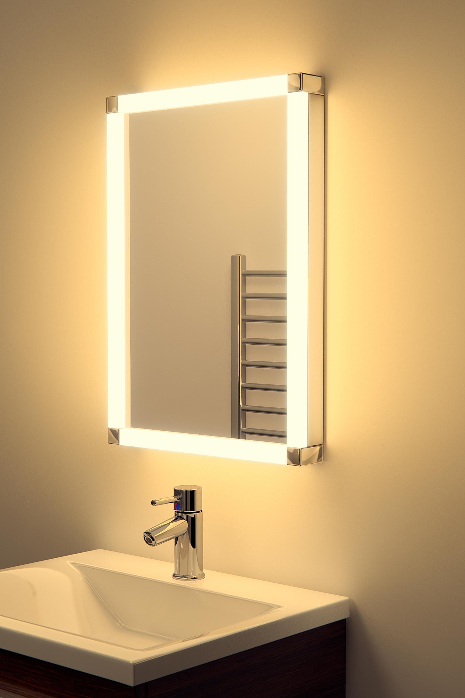chane led glow bathroom mirror with sensor shaver demister k325