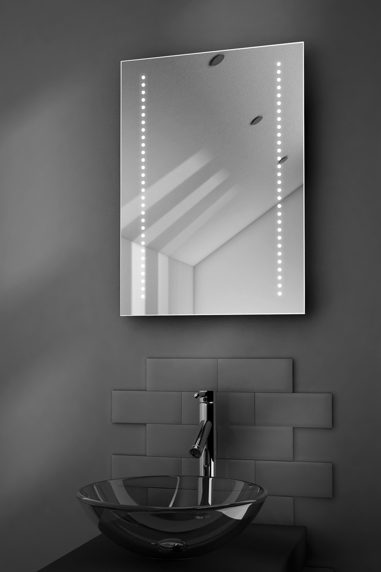 Gaze ultra slim led bathroom illuminated mirror with demister pad sensor k10e for Illuminated mirrors for bathrooms