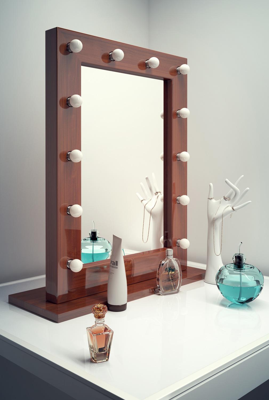 Specchio scuro da camerino teatrale per make up hollywood for Finestre rotonde del bagno