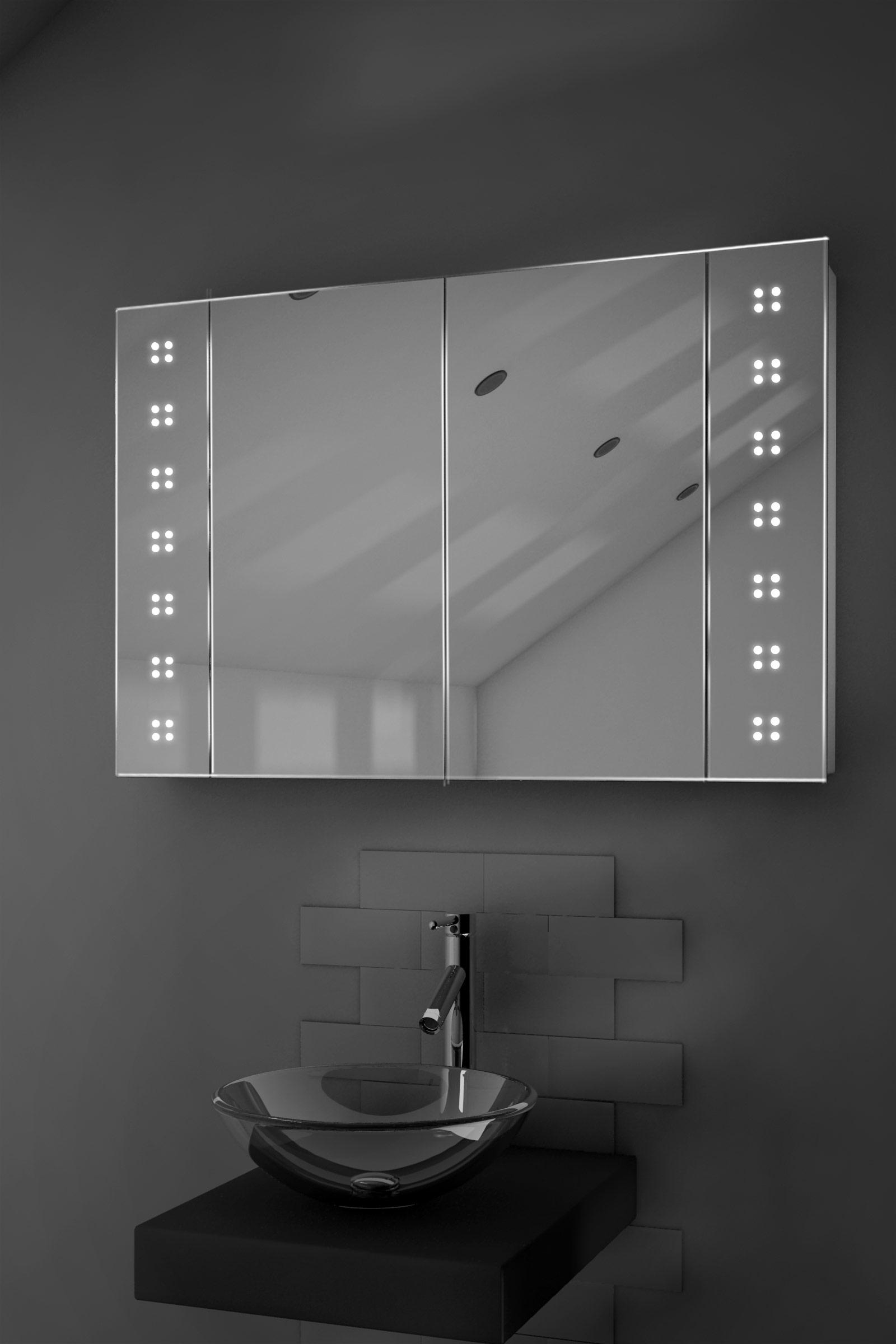 Dettagli su Armadietto con specchio da bagno con illuminazione LED ...