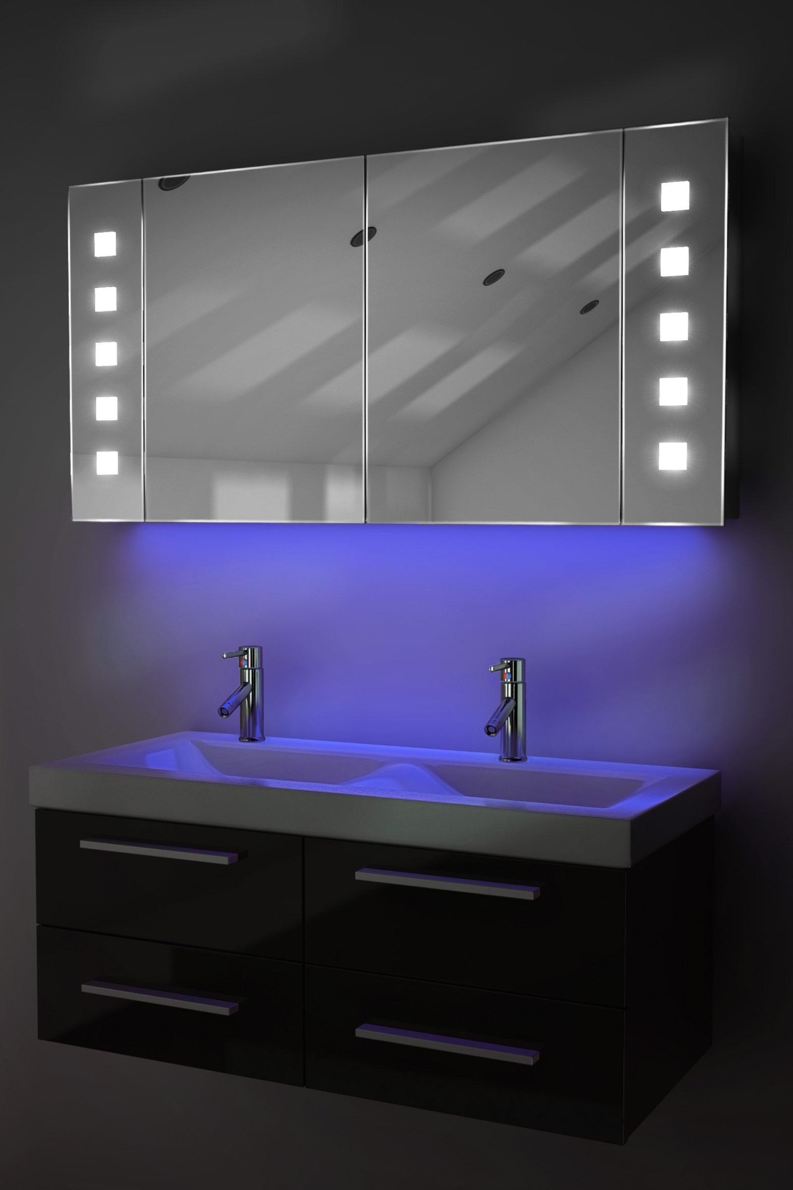 Ambient Bathroom Mirror Cabinet With Sensor Internal Shaver Socket K123