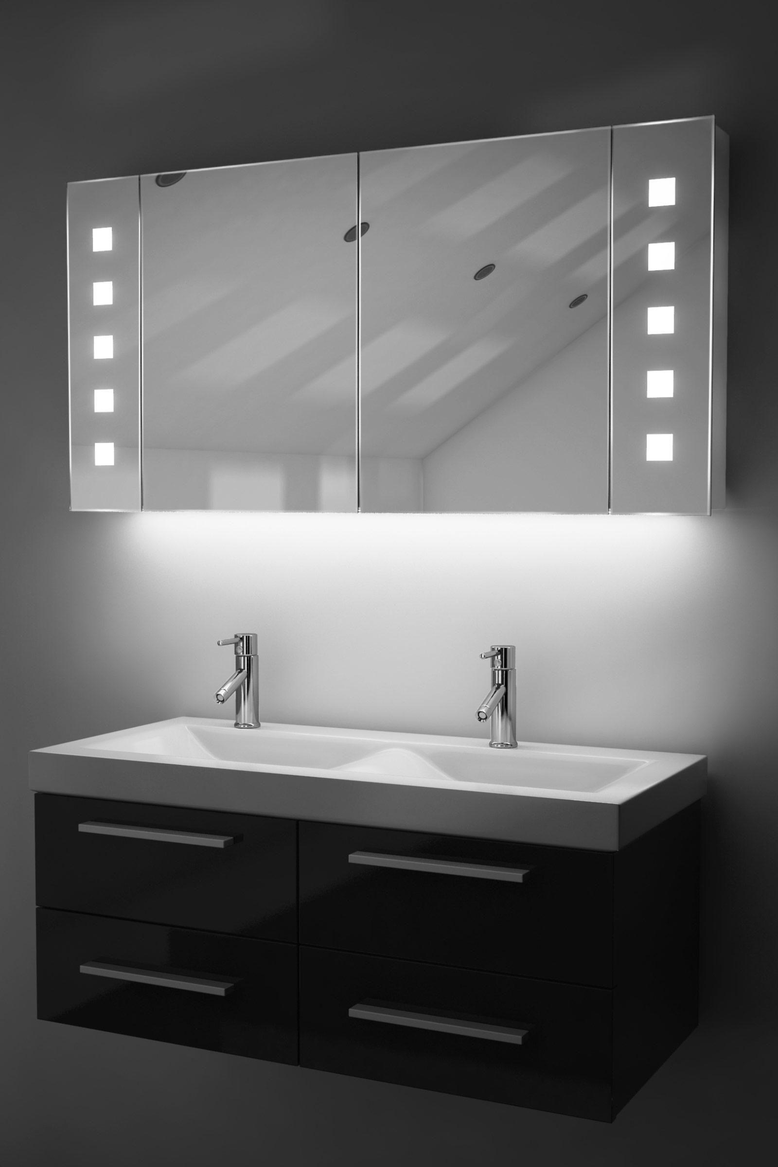 Armadietto bagno ambient con specchio sensore e presa per rasoio interna k123w ebay - Armadietto bagno con specchio ...
