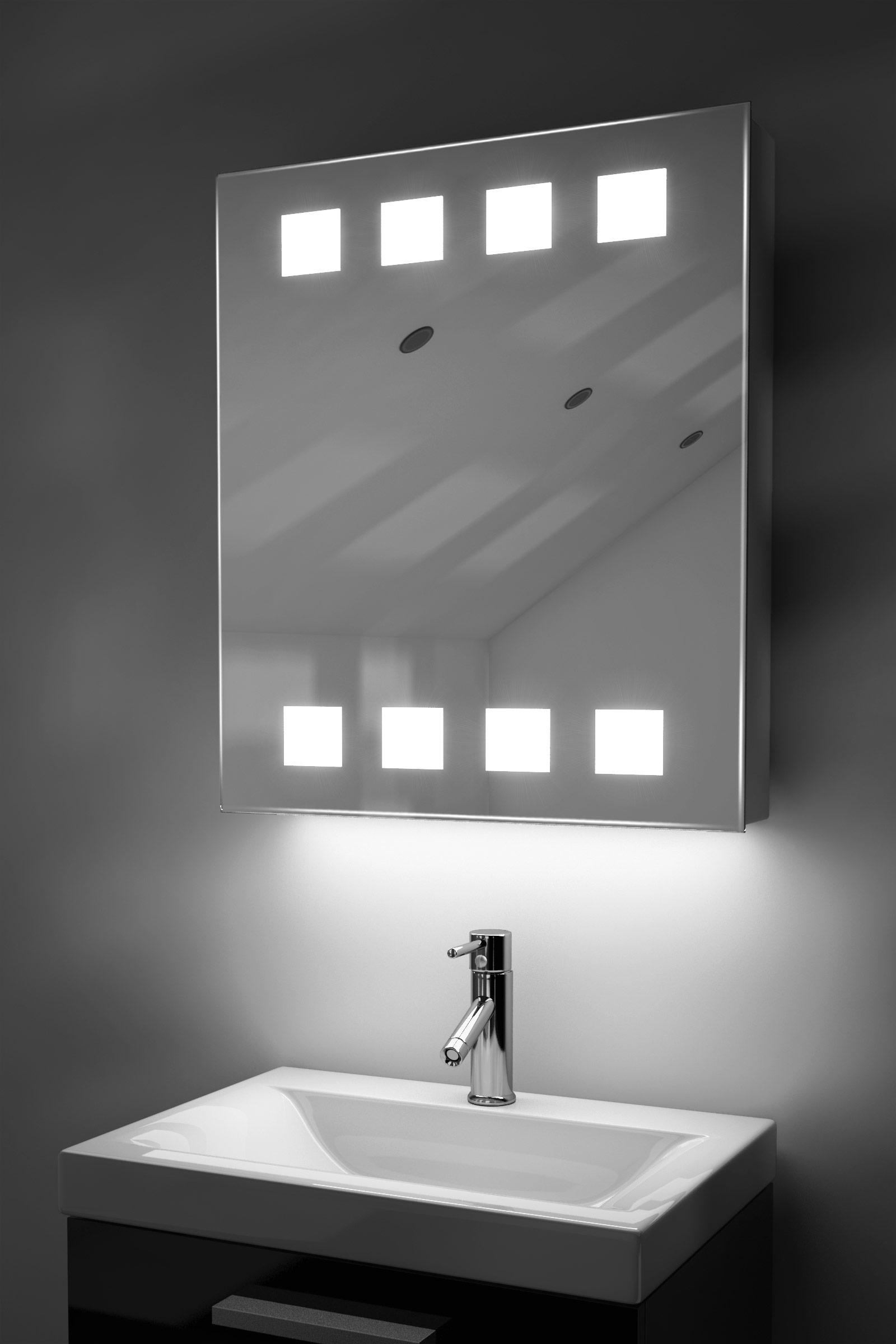 Armadietto bagno Ambient con specchio, sensore e presa per rasoio interna K128W