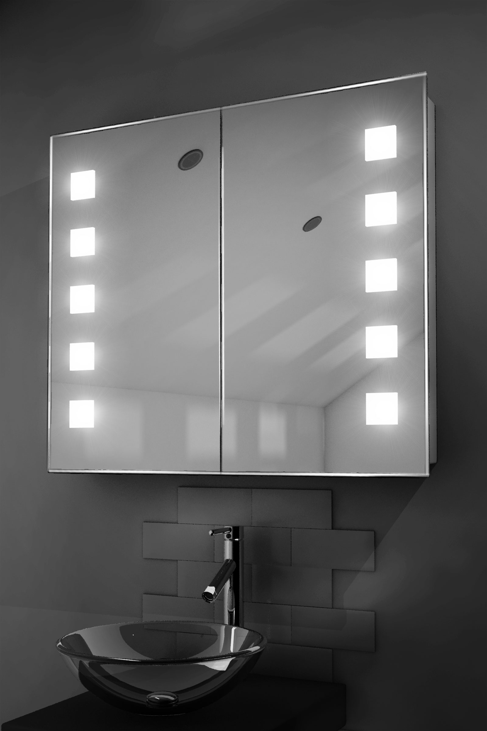 amaze led illuminated bathroom mirror cabinet with sensor shaver