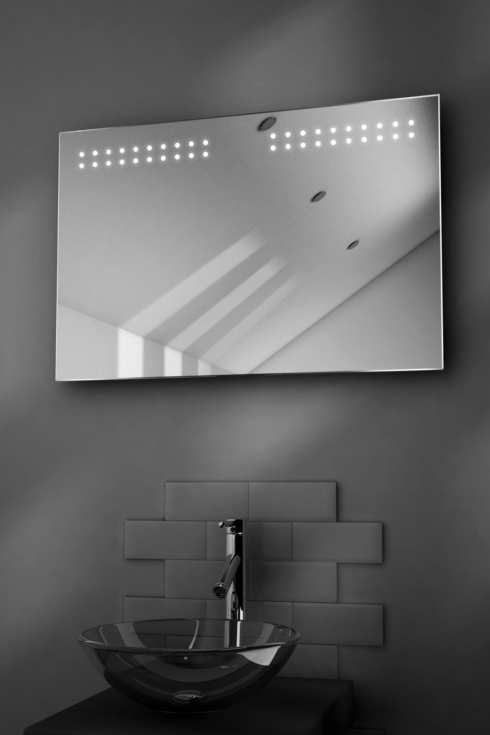 aqua shaver led bathroom illuminated mirror with demister pad sensor