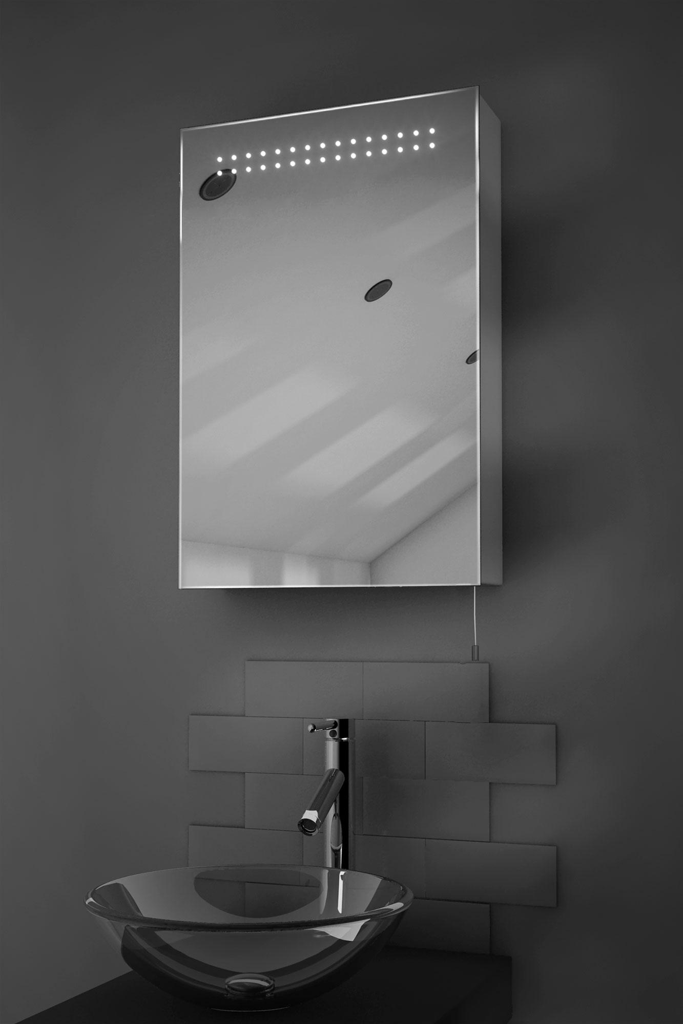 Bathroom Mirrors Illuminated: Sheva LED Illuminated Battery Bathroom Mirror Cabinet With