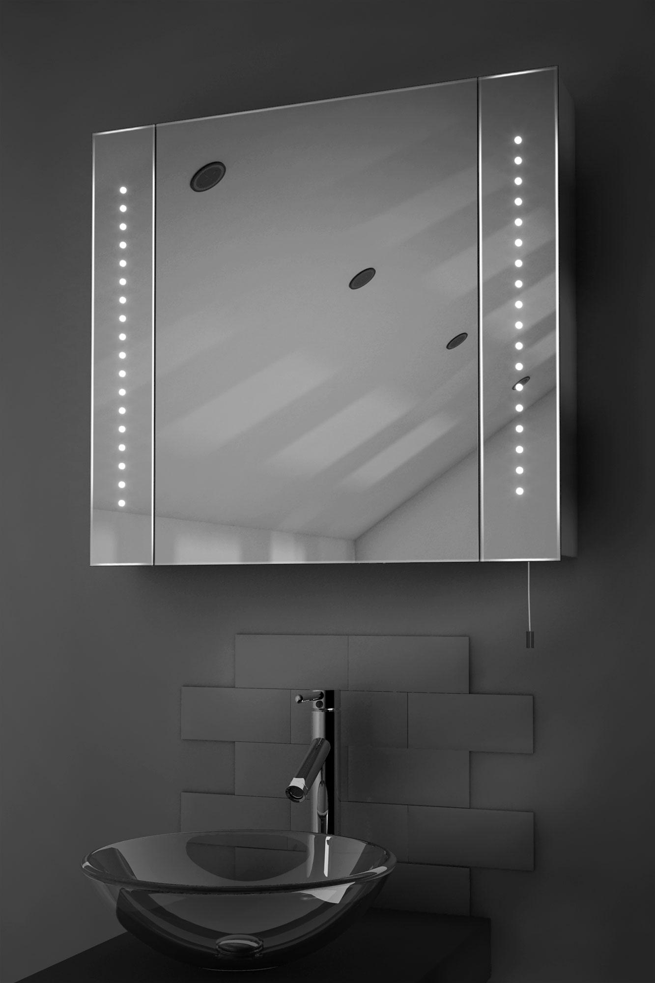 Armadietto da bagno con specchio con illuminazione a led e cordoncino regal ebay - Armadietto bagno con specchio ...