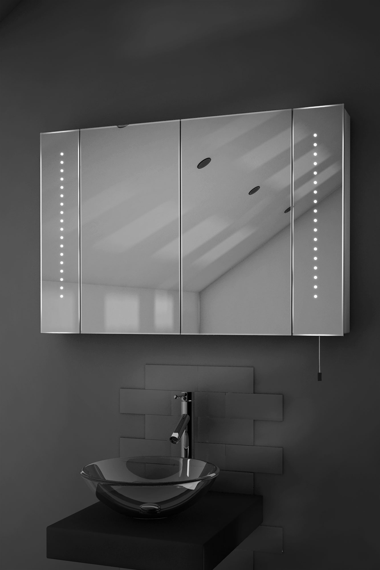Bathroom mirror cabinets with light and shaver socket - Hatha Led Illuminated Battery Bathroom Mirror Cabinet With Pull