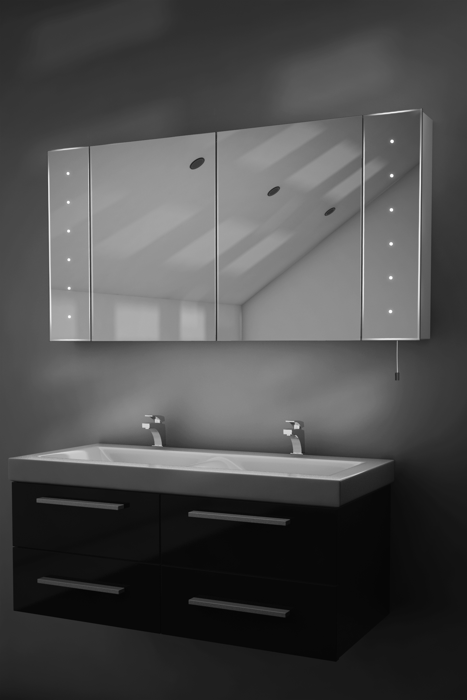 Karma led illuminated battery bathroom mirror cabinet with for Bathroom cabinets led