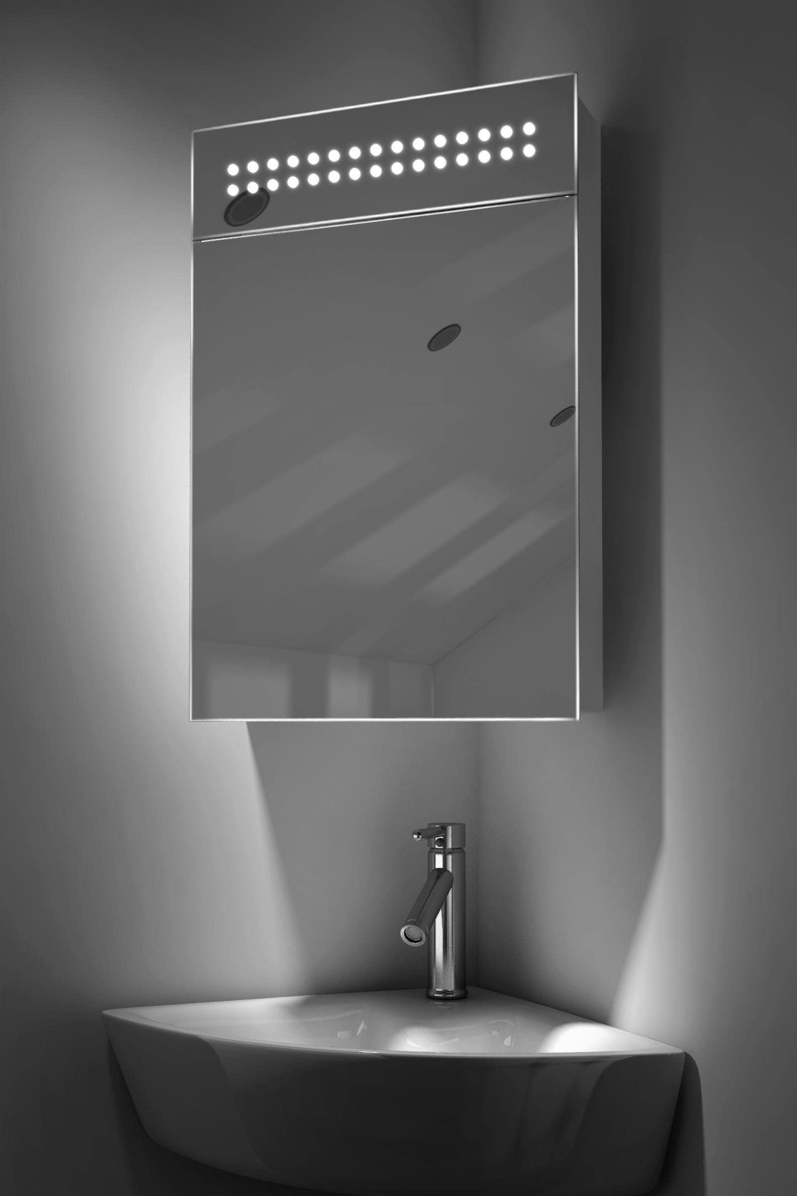 carla led corner cabinet mirror with demister pad shaver