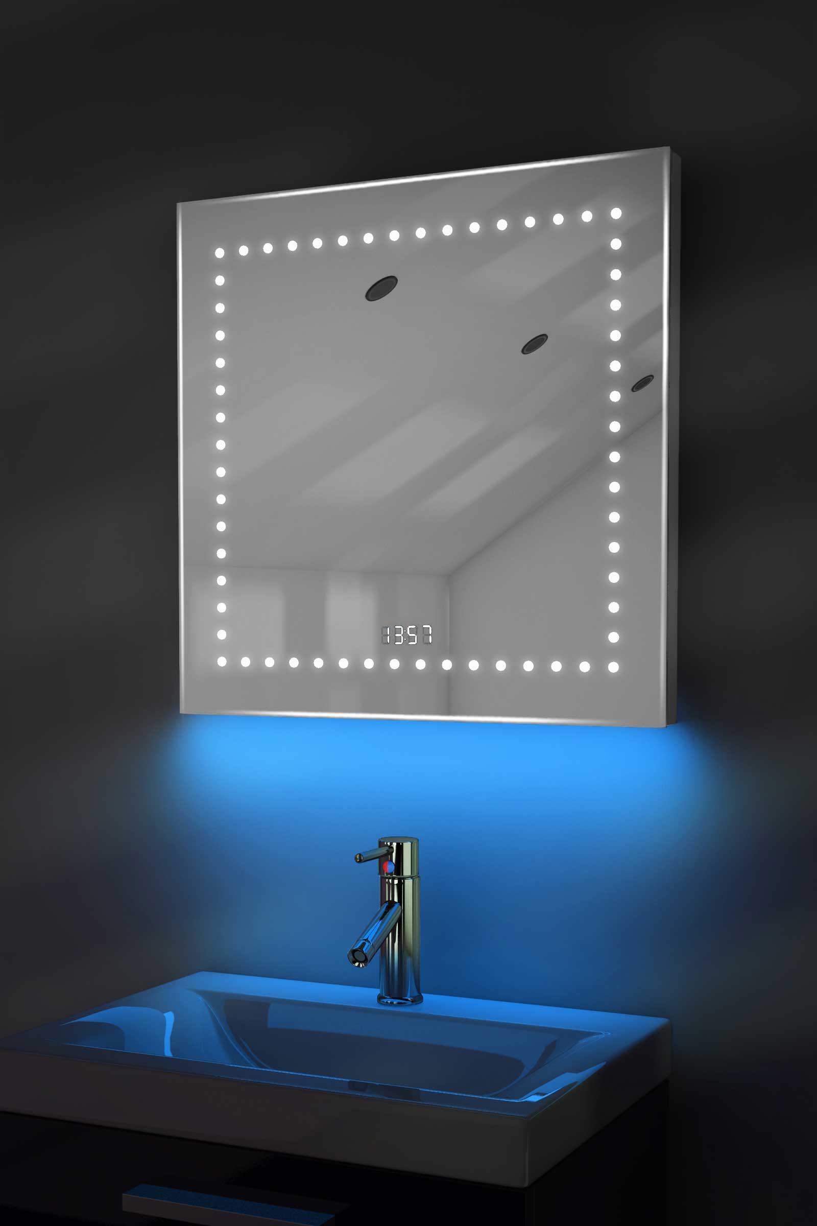 Digital Clock Shaver Bathroom Mirror With Under Lighting Demist Sensor K183b Ebay