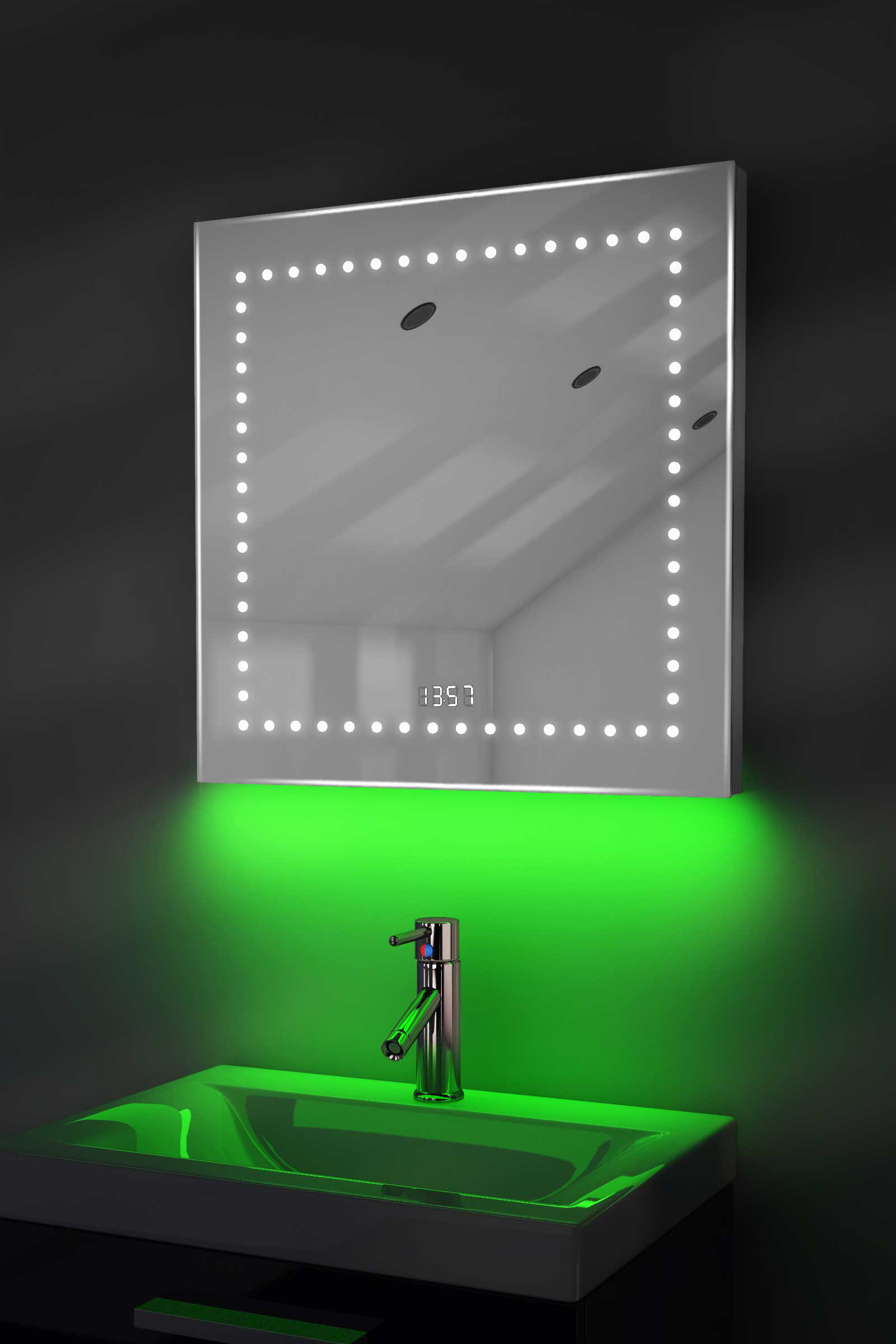 badspiegel mit uhr bluetooth spiegelheizung sensor rasiersteckdose k183gaud. Black Bedroom Furniture Sets. Home Design Ideas