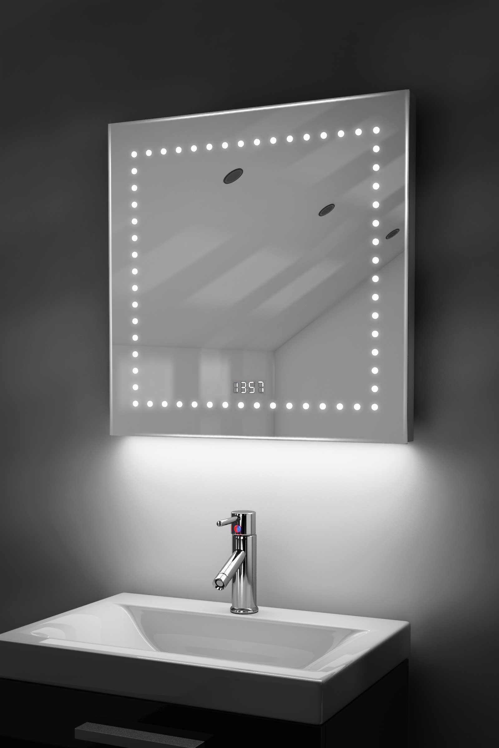 Digital Clock Shaver Bathroom Mirror With Under Lighting Demist Sensor K183 K183g Ebay