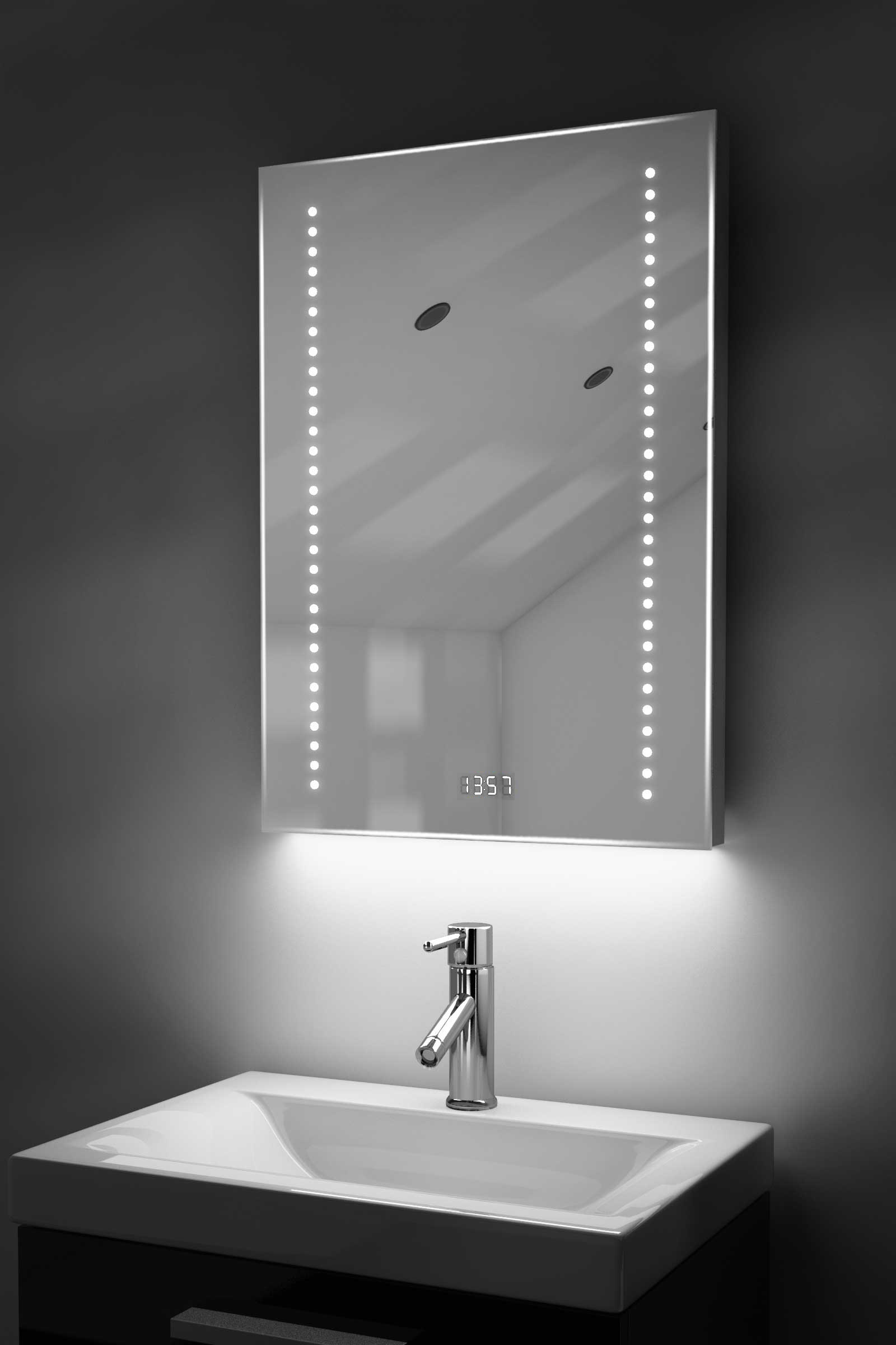 Digital Clock Slim Bathroom Mirror With Rgb Lighting Demist Sensor K184rgb Ebay