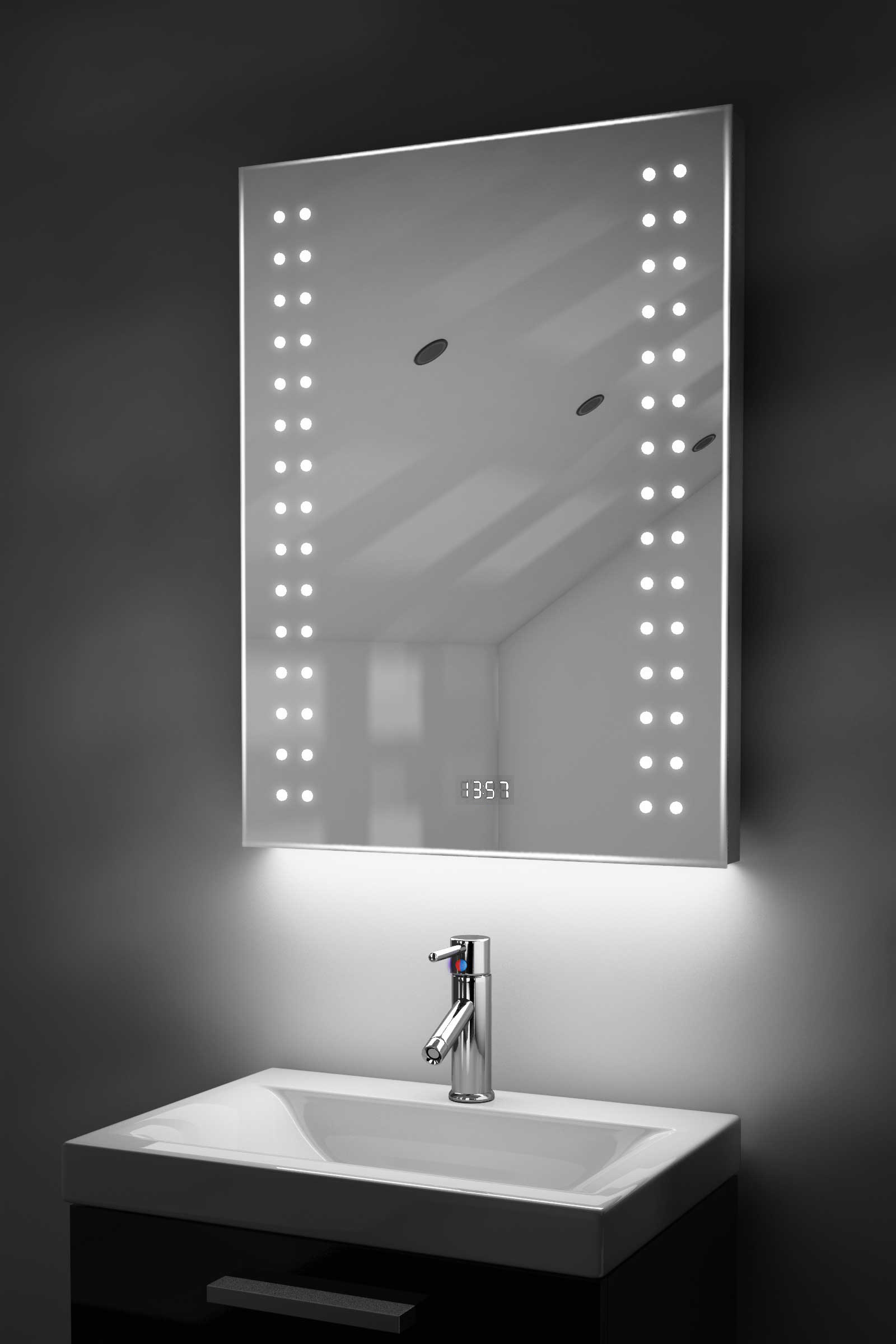Digital Clock Slim Bathroom Mirror With Under Lighting Demist Sensor K186 Ebay