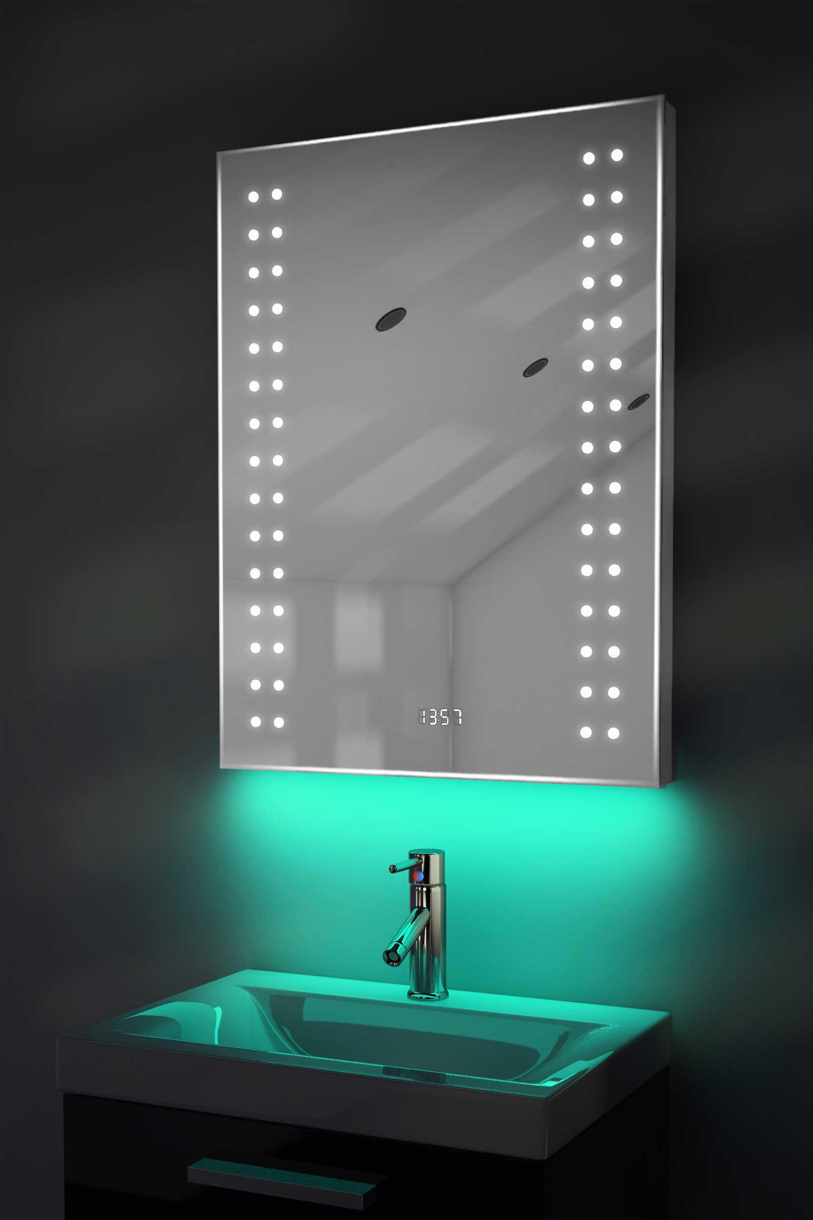 badspiegel mit uhr rgb beleuchtung heizung sensor rasiersteckdose k187rgb ebay. Black Bedroom Furniture Sets. Home Design Ideas