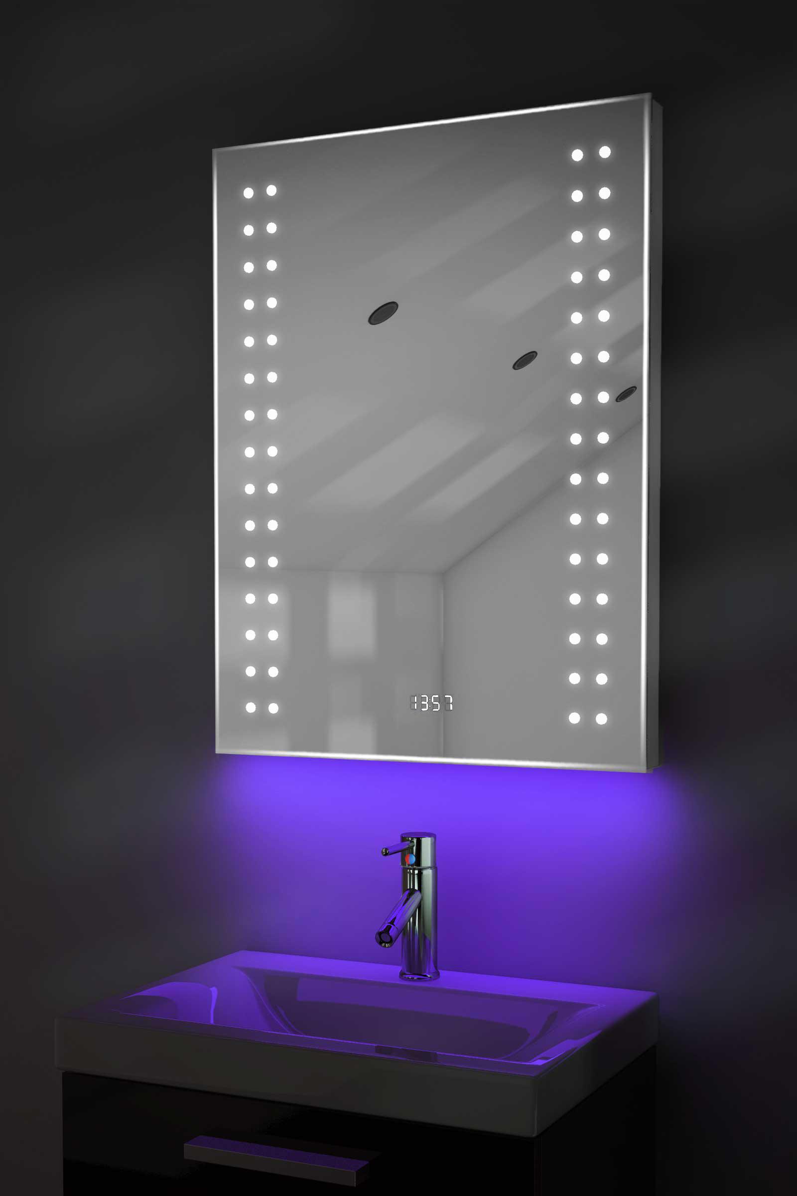 Digital Clock Shaver Bathroom Mirror With Under Lighting Demist Sensor K187u