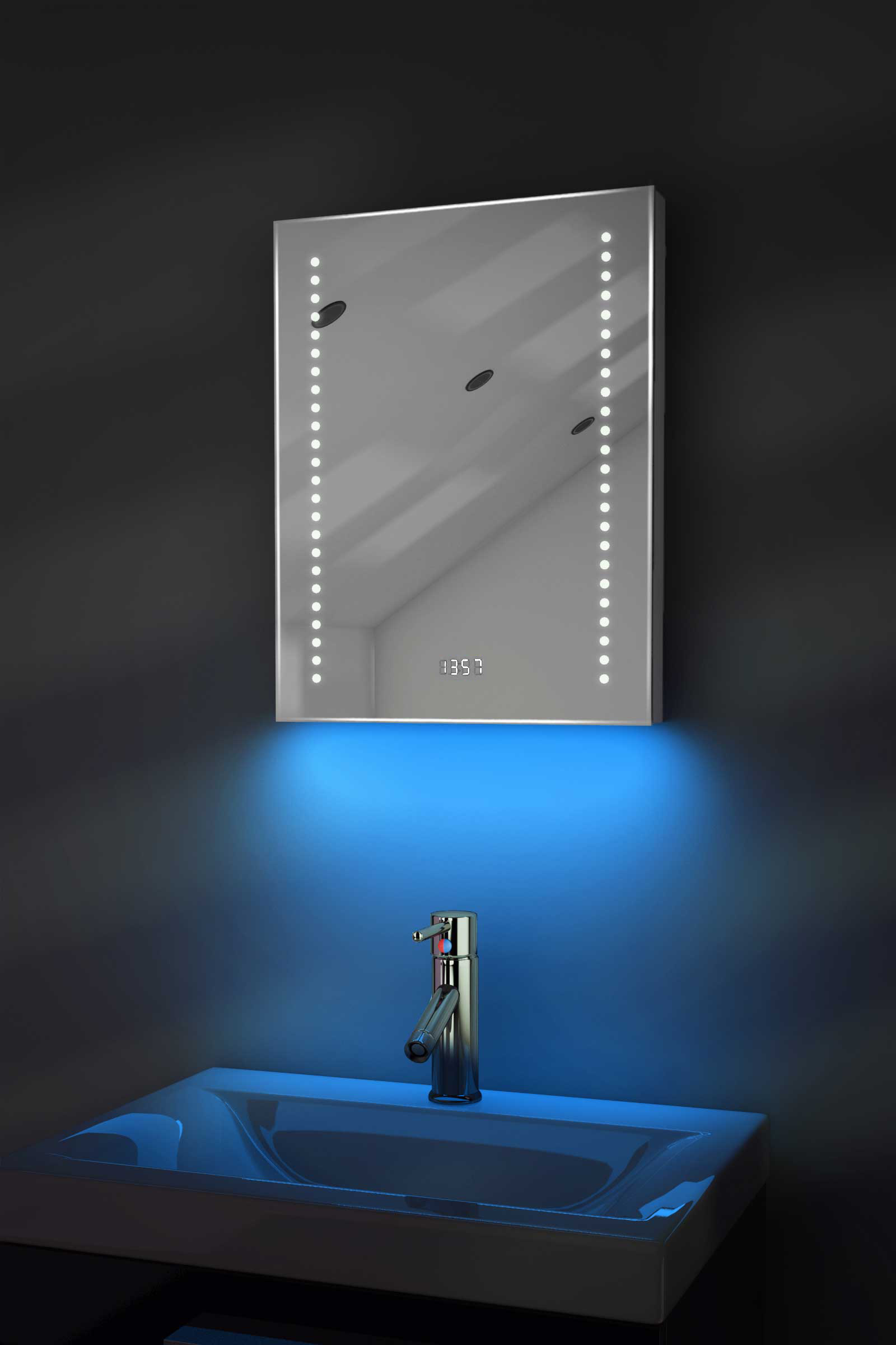 Digital Clock Shaver Bathroom Mirror With Under Lighting Demist Sensor K189b Ebay
