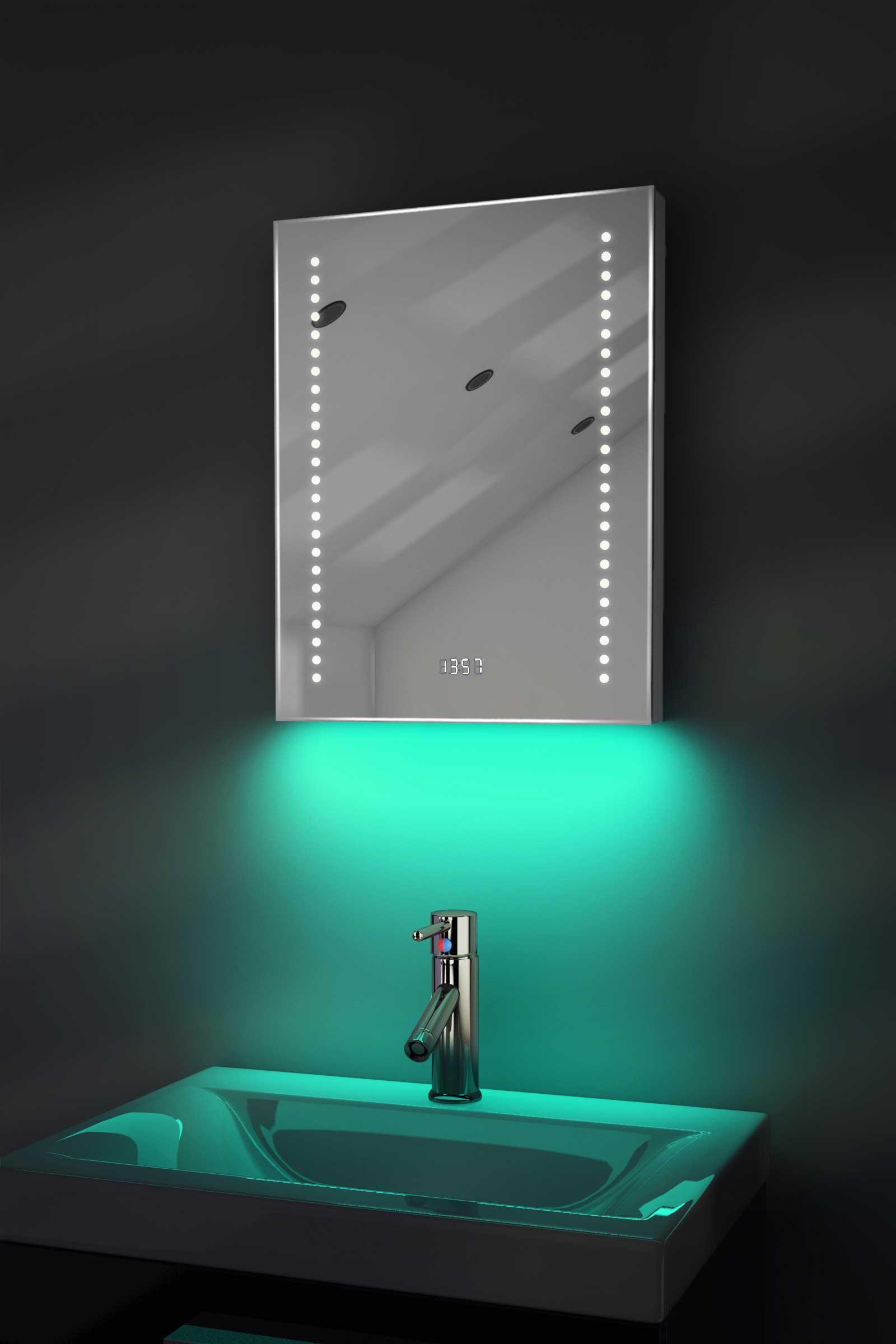 Digital Clock Shaver Bathroom Mirror With Under Lighting Demist Sensor K189 Ebay