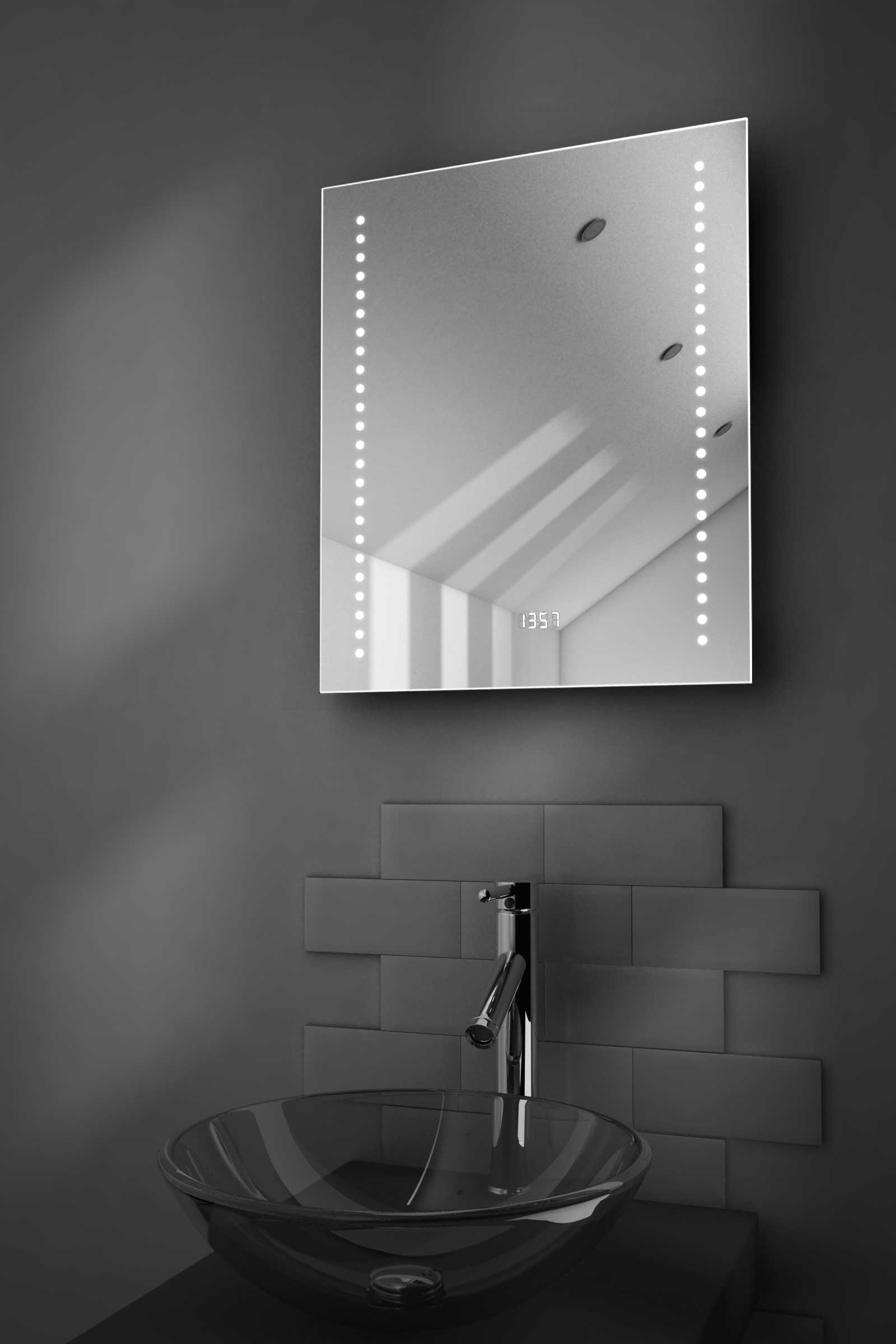 dream shaver badezimmerspiegel mit uhr demister pad sensor k191 ebay. Black Bedroom Furniture Sets. Home Design Ideas