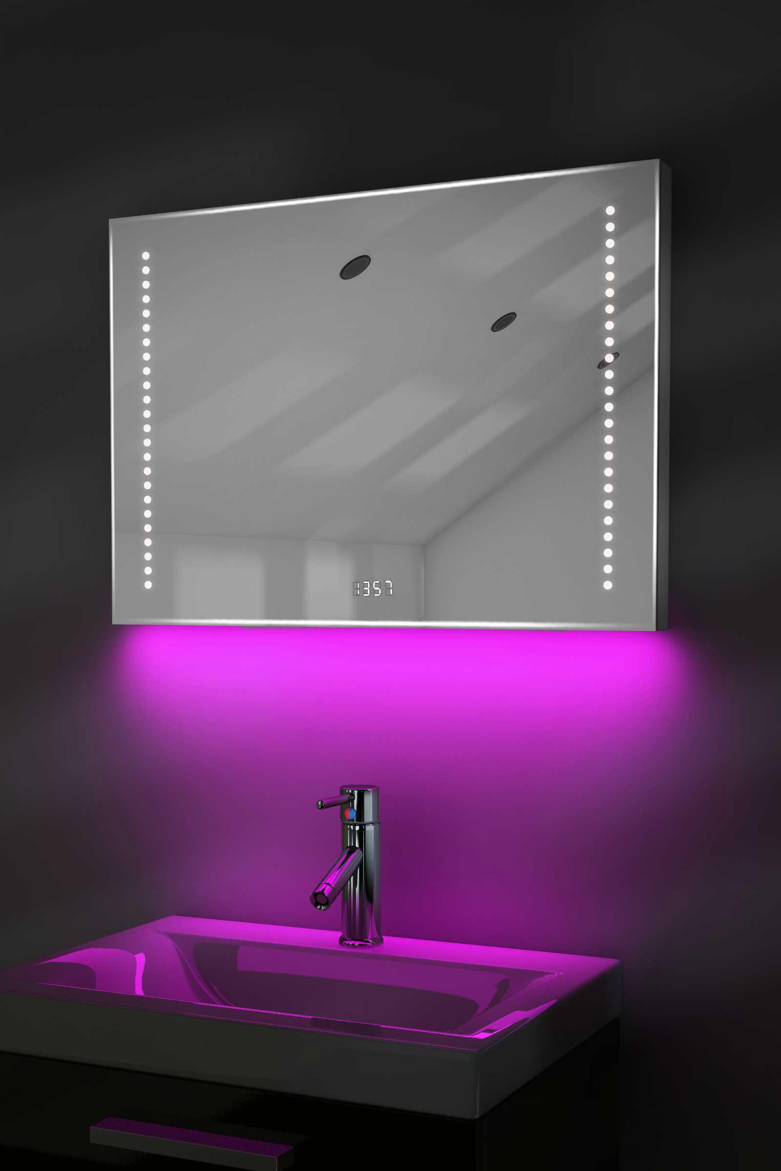 Digital Clock Shaver Bathroom Mirror With Under Lighting Demist Sensor K193p Ebay