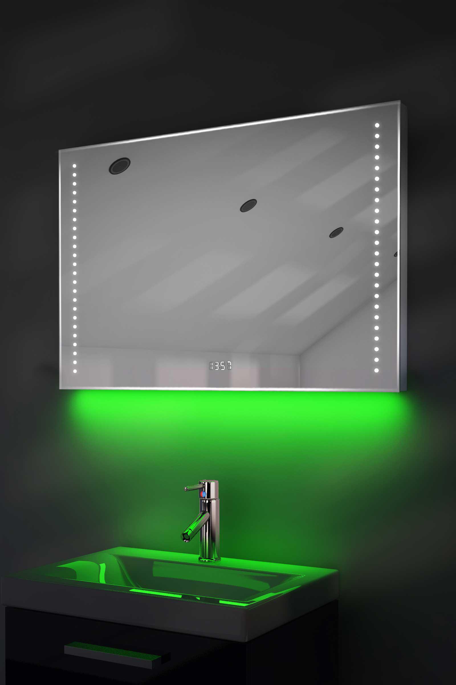Digital Clock Shaver Bathroom Mirror With Under Lighting Demist Sensor K195g Ebay