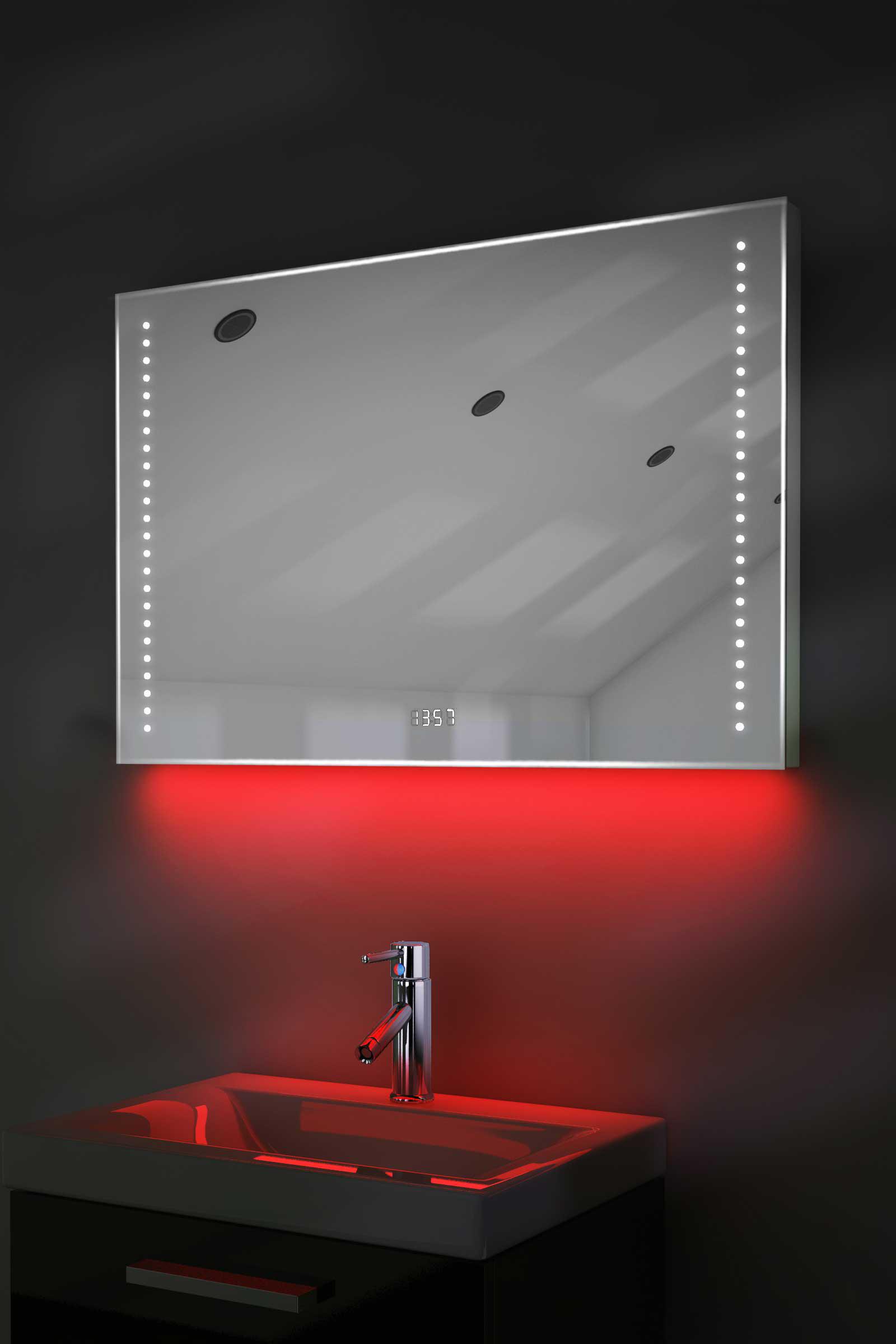 Digital Clock Shaver Bathroom Mirror With Under Lighting Demist Sensor K195 Ebay