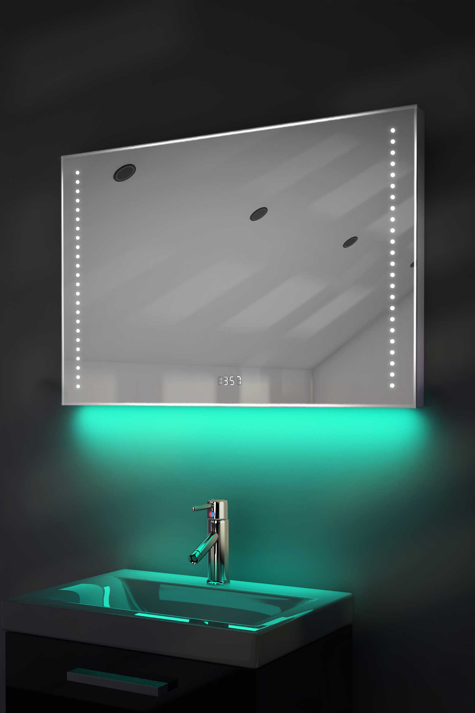 Digital Clock Shaver Bathroom Mirror With Under Lighting